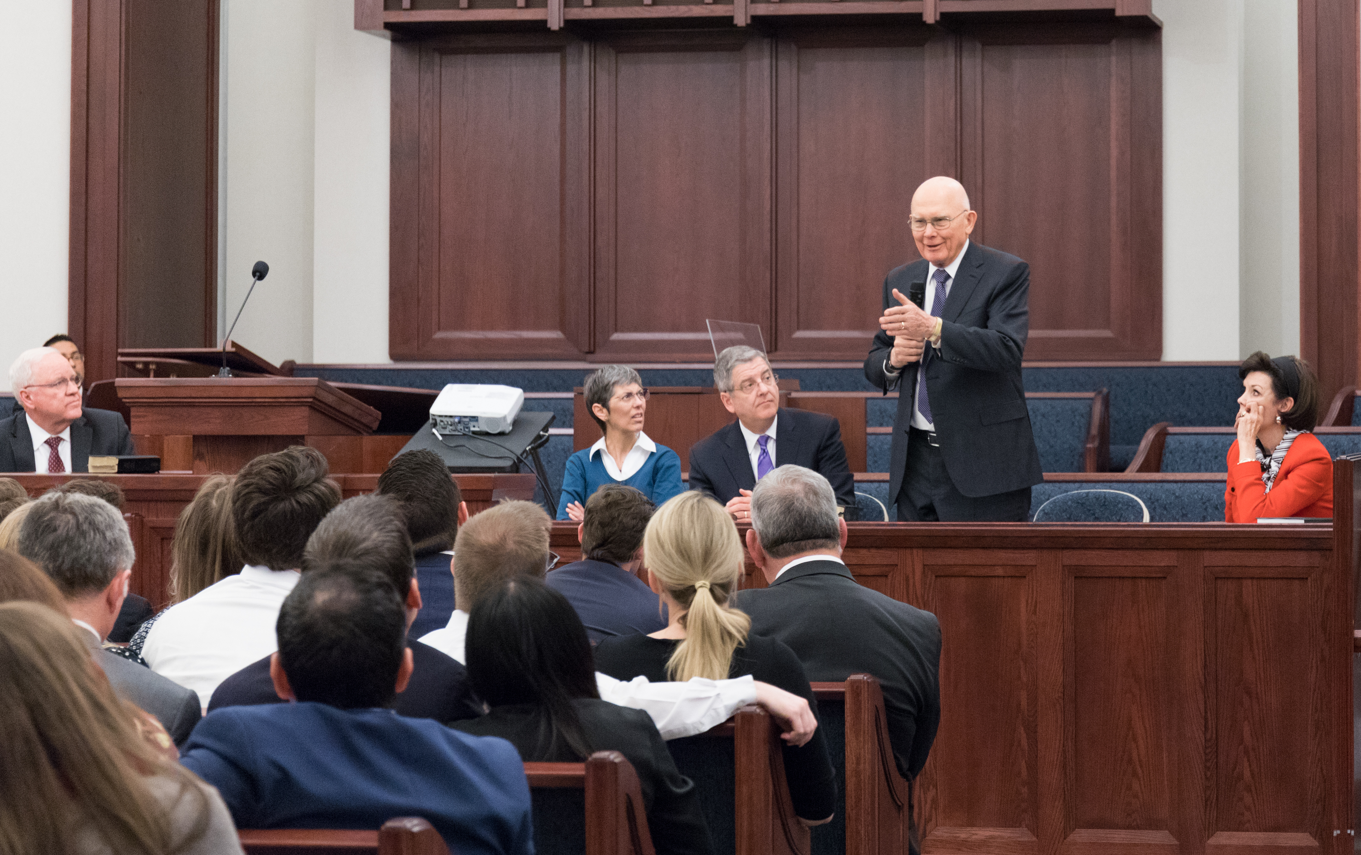 President Dallin H. Oaks answers questions fielded by audience members during Feb. 2, 2019, devotional for young married couples in Chicago.