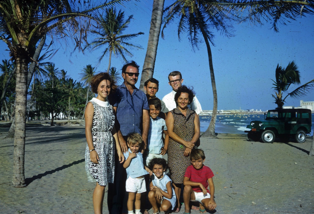 The family of Carlos and Gilda Ferreira, joined by Elder John Beck, are photographed on one of the beaches of Fortaleza, Brazil. The Ferreiras were the first converts in Fortaleza, baptized at different times beginning on May 15, 1966; the family moved from Fortaleza later that year.