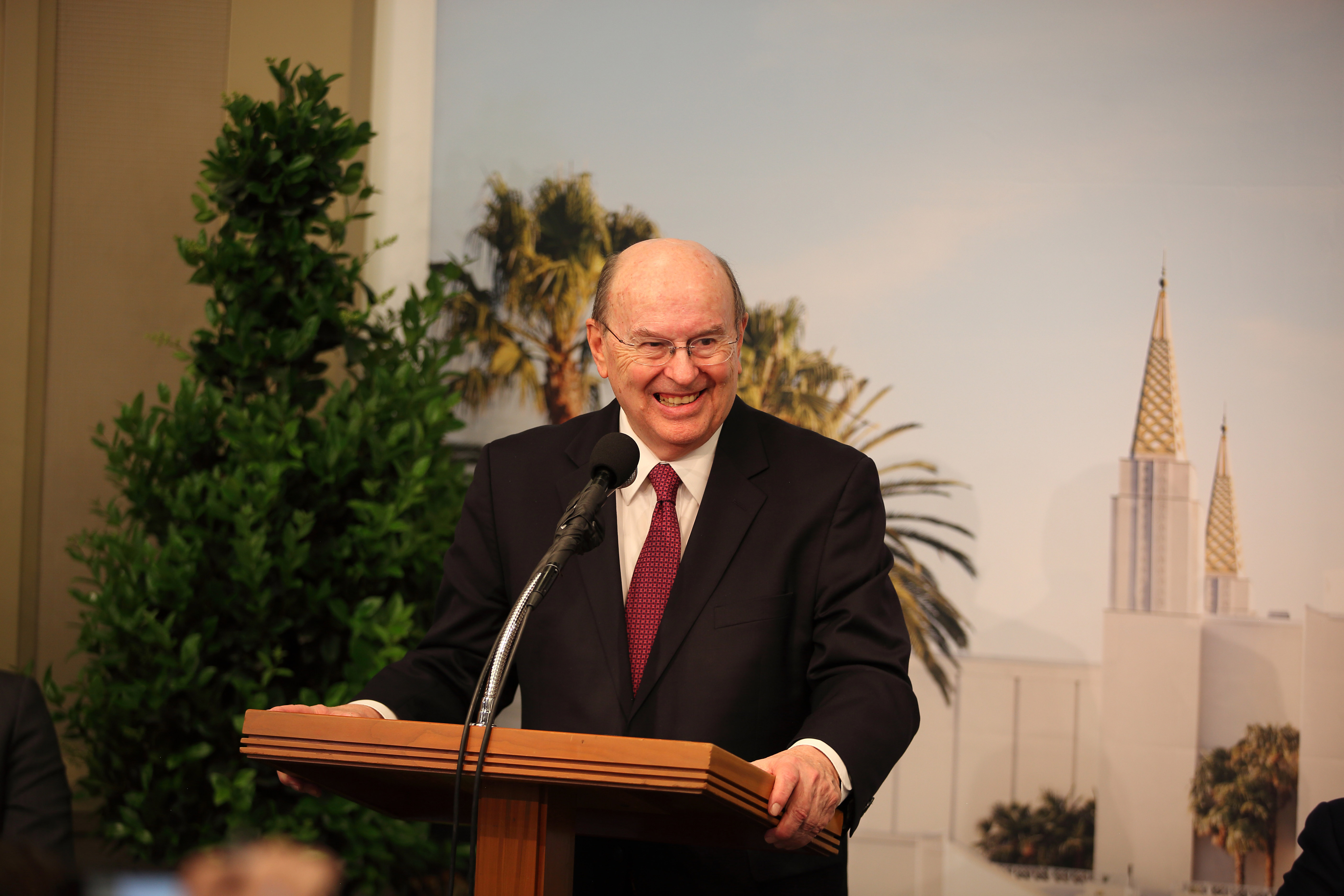 Former resident of the Bay area, Elder Quentin L. Cook, a member of the Quorum of the Twelve Apostles, provides details about the renovation of the Oakland California Temple May 6, 2019.