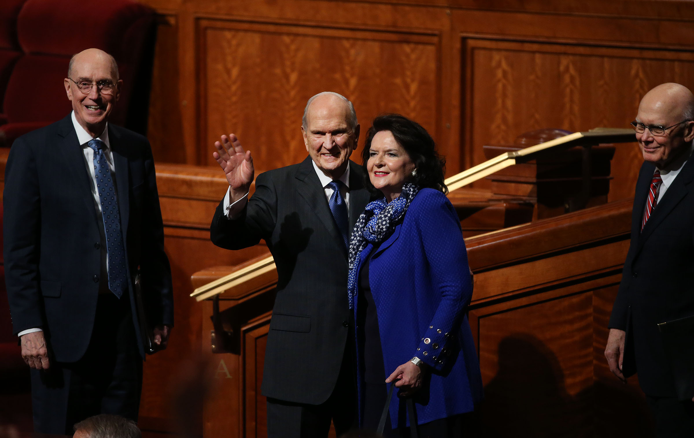 President Henry B. Eyring, left, Second Counselor in the First Presidency, President Russell M. Nelson and his wife, Wendy, and President Dallin H.Oaks, First Counselor in the First Presidency, wave to the audience after the general women's session of the 188th Semiannual General Conference of The Church of Jesus Christ of Latter-day Saints held in the Conference Center in downtown Salt Lake City on Oct. 6, 2018.