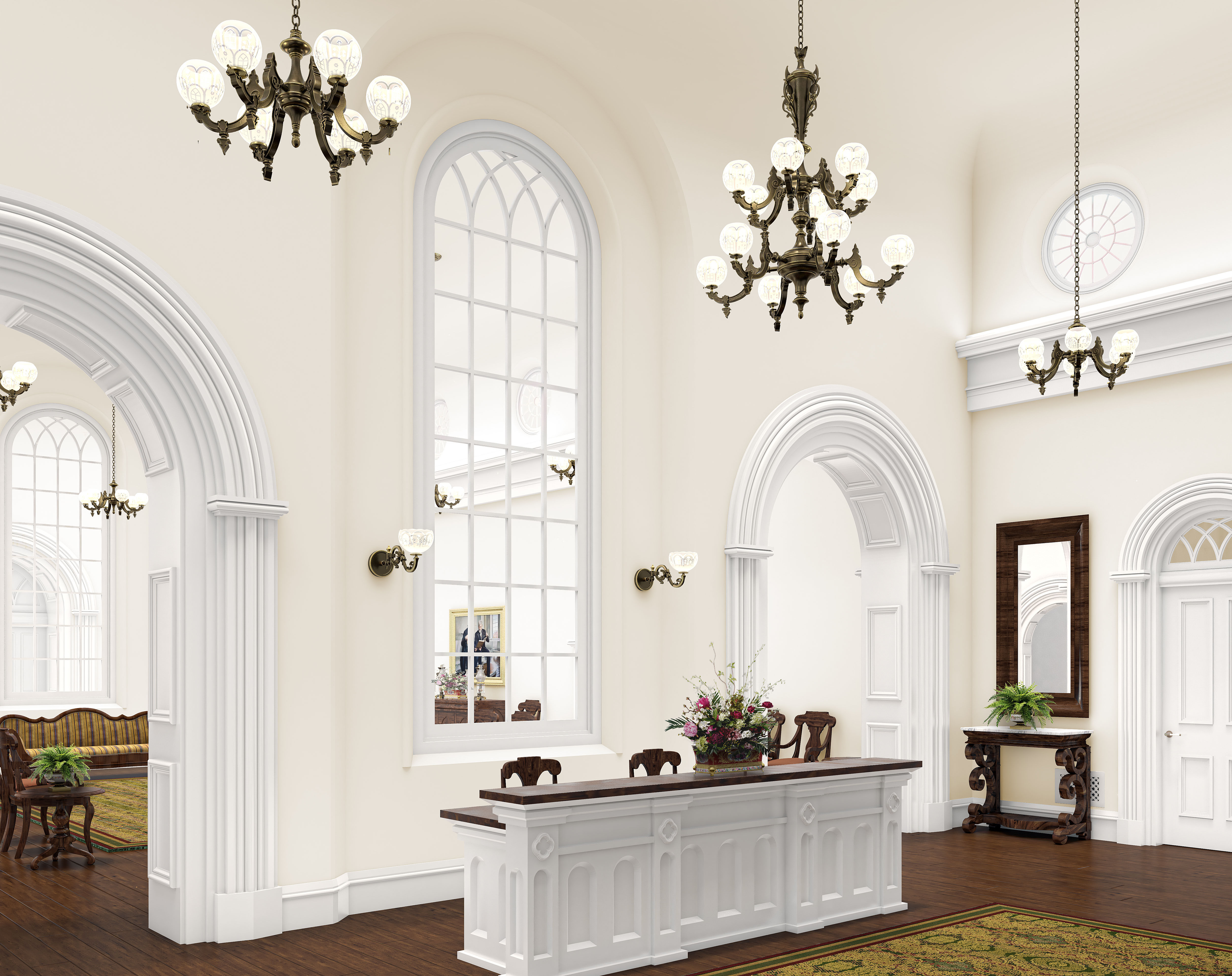 A rendering of the recommend desk and entry into the St. George Utah Temple. The temple will close Nov. 4 for extensive renovations.
