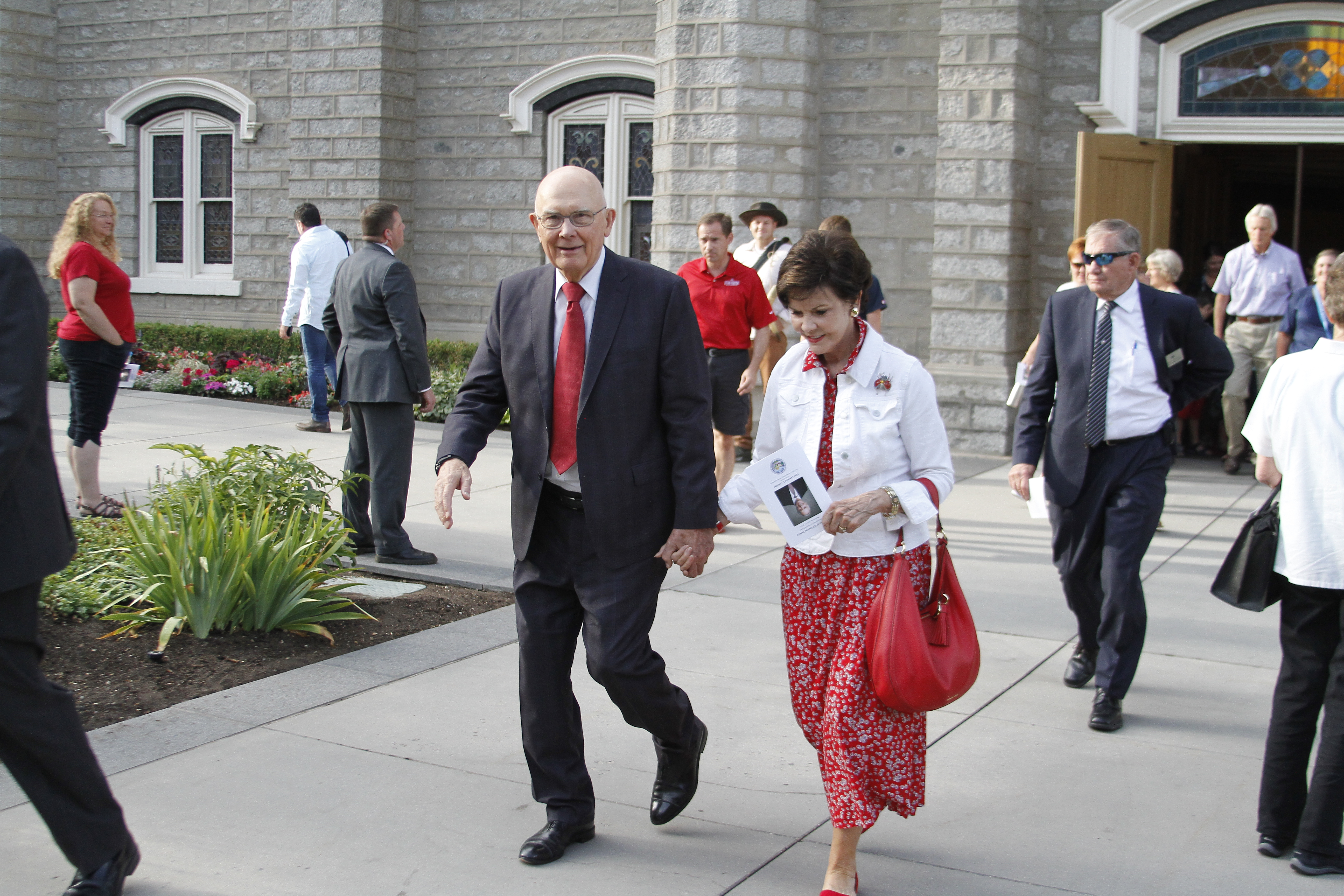 President Dallin H. Oaks of the First Presidency and his wife, Sister Kristen Oaks, walking out of the the Assembly Hall on Temple Square after the Days of '47 Sunrise Service July 24, 2019.