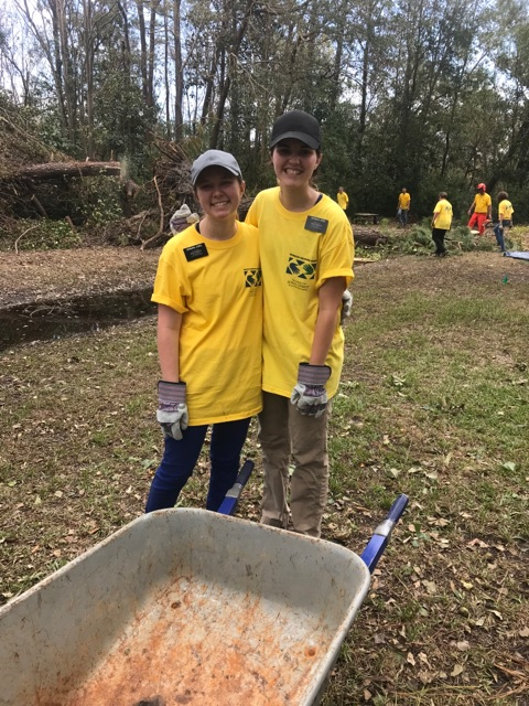 Sister Alicia Jones, left, and Sister Dawna Herr jumped at an opportunity to join a Sept. 22, 2018, cleanup project in waterlogged Wilmington, North Carolina, prior to their Sept. 26 missionary release date.