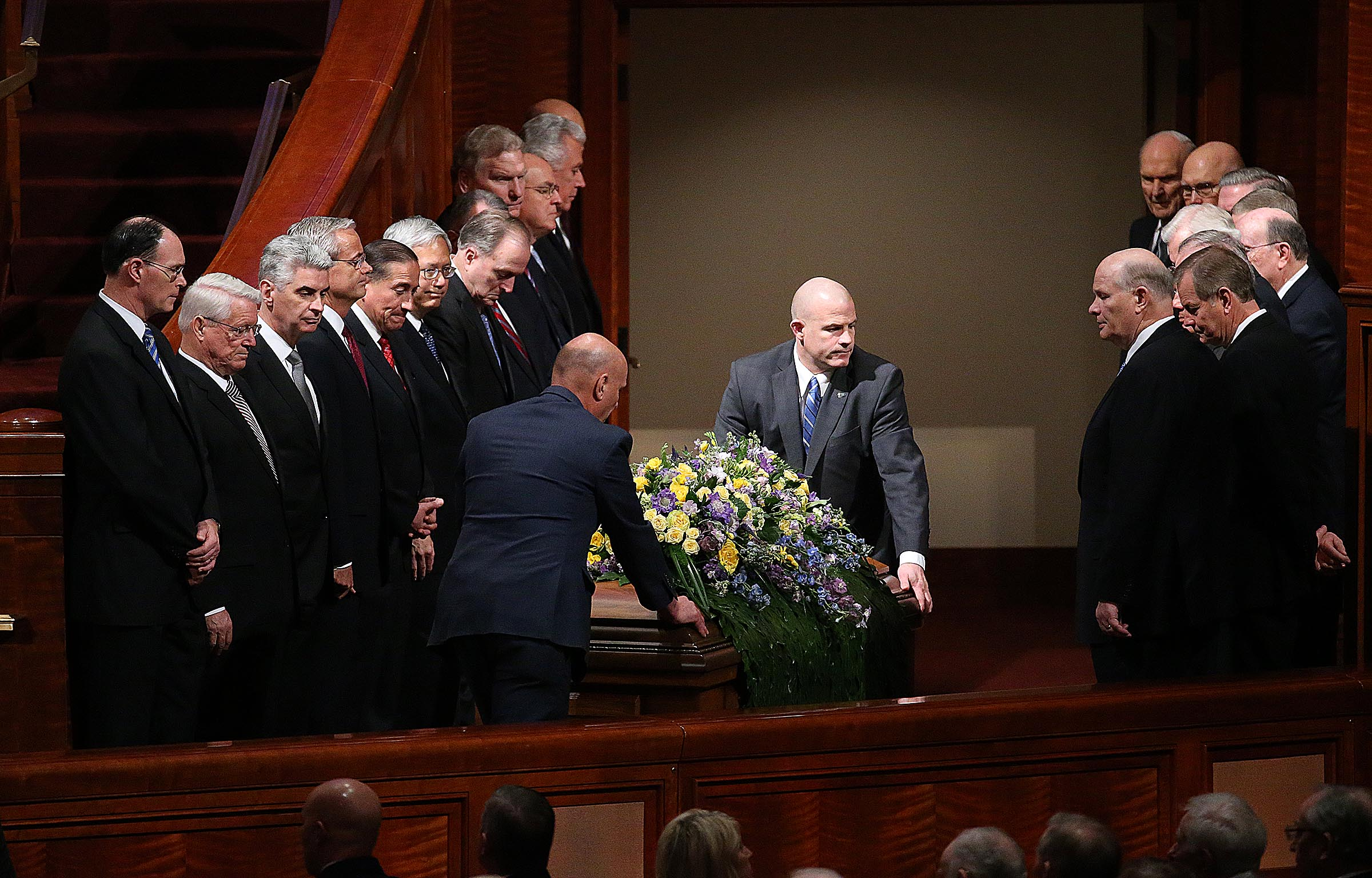 President Thomas S. Monson's casket is moved out of the Conference Center in Salt Lake City on Friday, Jan. 12, 2018.