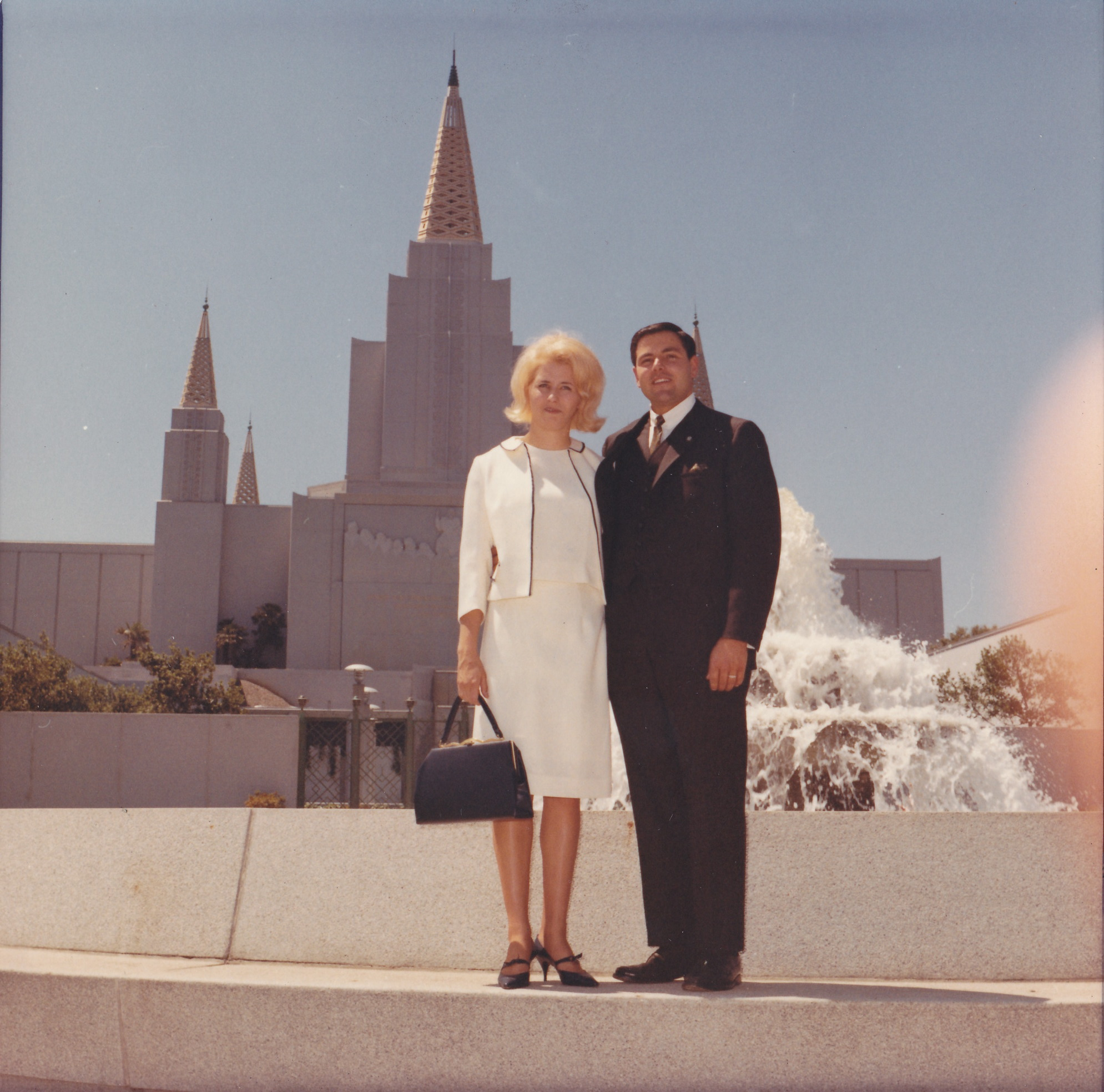 Lisbeth Pettersson with her husband Tom Slater on their wedding day, June 25, 1966. They were married in the Oakland California Temple.
