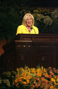 Sister Elaine S. Dalton, Young Women general president, speaks during the annual General Young Women Meeting in the Conference Center on Saturday, March 30, 2013