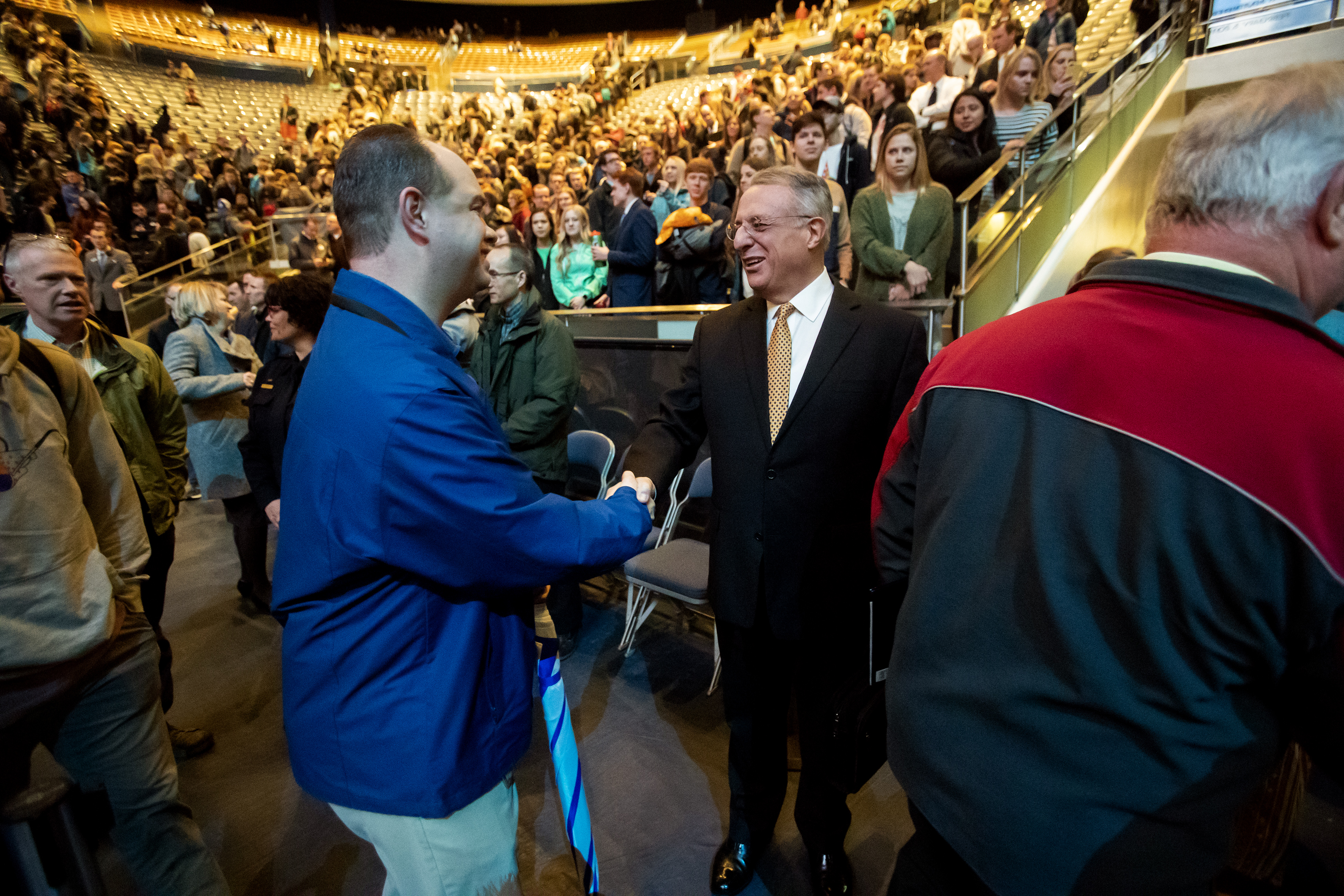Elder Ulisses Soares of the Quorum of the Twelve Apostles of The Church of Jesus Christ of Latter-day Saints greets some of the people attending as he exits after speaking at a devotional at BYU in Provo on Tuesday, Feb. 5, 2019.