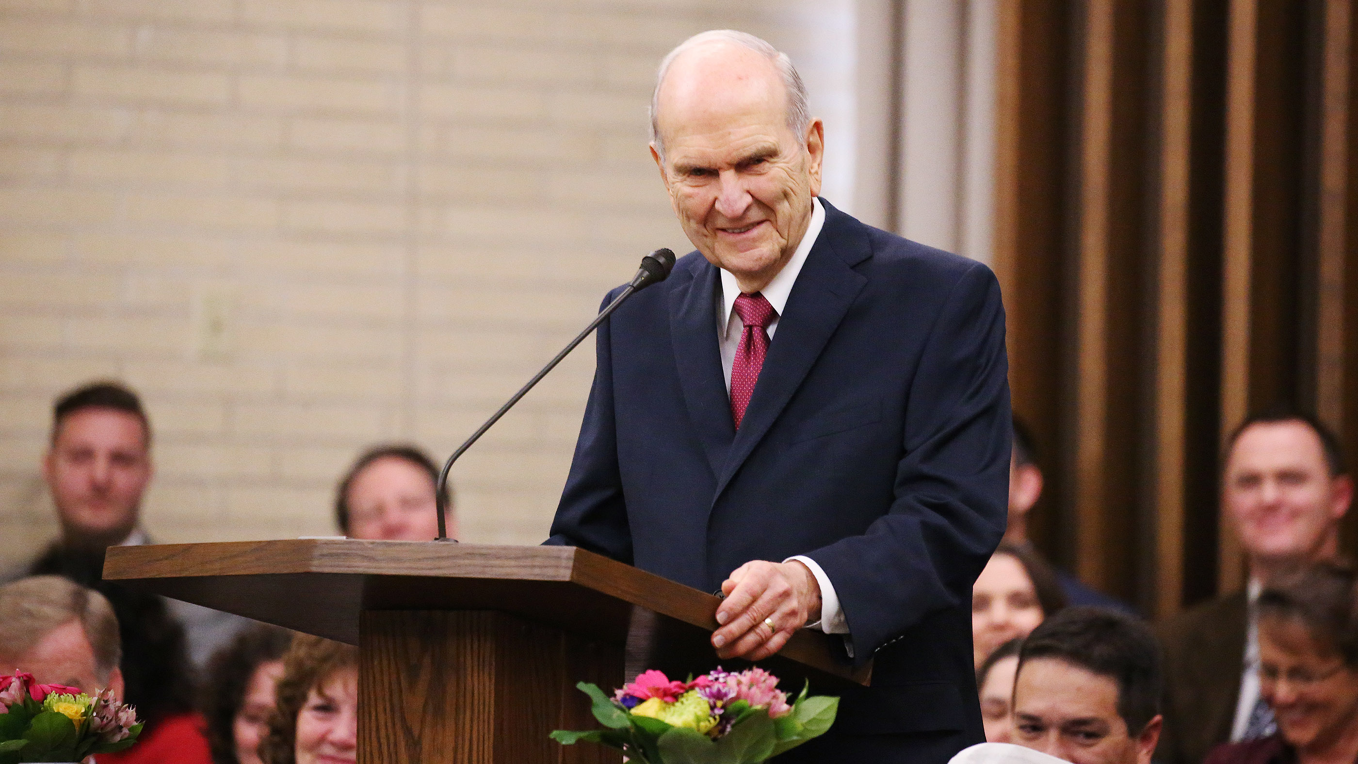 "President Russell M. Nelson of The Church of Jesus Christ of Latter-day Saints speaks in Chico, California, on Sunday, Jan. 13, two months after the Camp Fire destroyed 1,400 homes and hundreds of businesses. President Nelson wrote about the visit in an op-ed published Feb. 10 in The Arizona Republic. Life with God is far better than one without him, he wrote in the op-ed, titled ""Healing Hearts."""