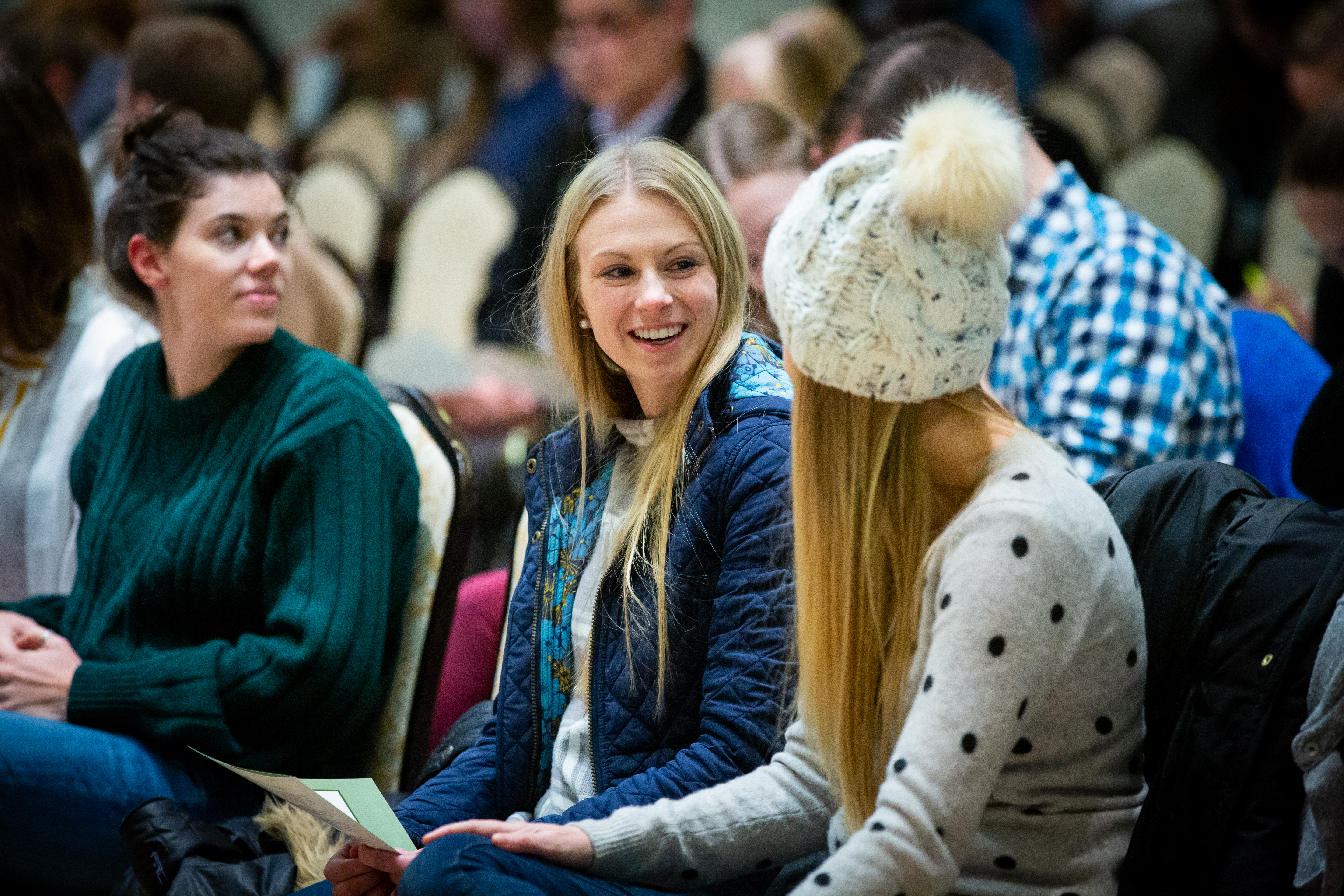 Students attending the 15th Annual Marjorie Pay Hinckley Lecture chat prior to the lecture on Feb. 7, 2019 on the BYU Provo, Utah campus.