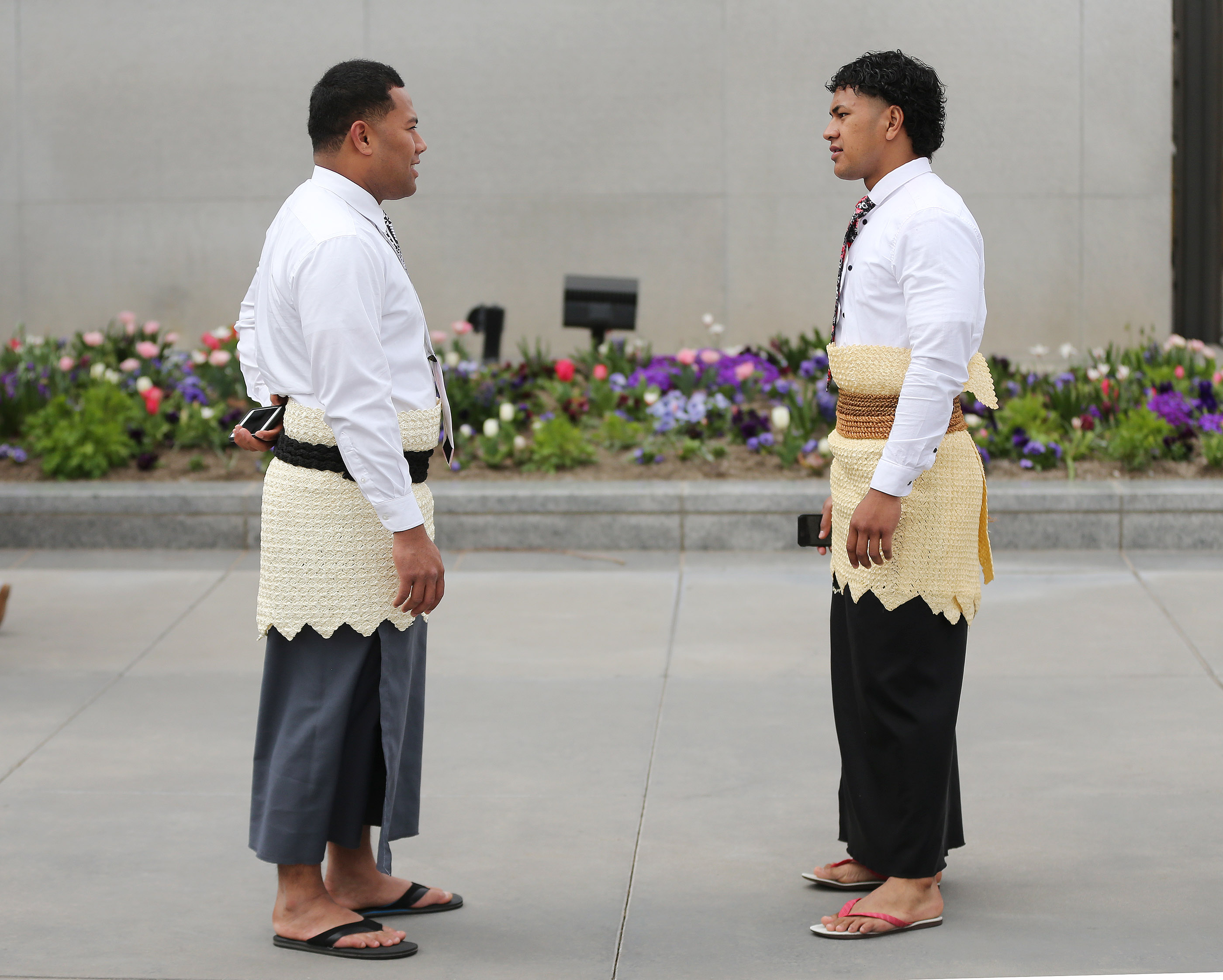 William Vaipulu and Tevita Ngauamo attend the 189th Annual General Conference of The Church of Jesus Christ of Latter-day Saints in Salt Lake City on Sunday, April 7, 2019.