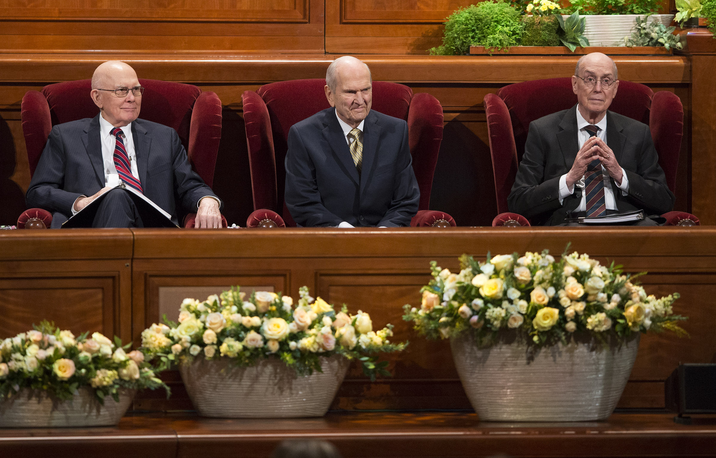 LDS Church President Russell M. Nelson sits with his counselors, President Dallin H. Oaks, first counselor in the First Presidency and President Henry B. Eyring, second counselor in the First Presidency, prior to the Sunday afternoon session of the 188th Annual General Conference of The Church of Jesus Christ of Latter-day Saints, in the Conference Center in Salt Lake City on Sunday, April 1, 2018.