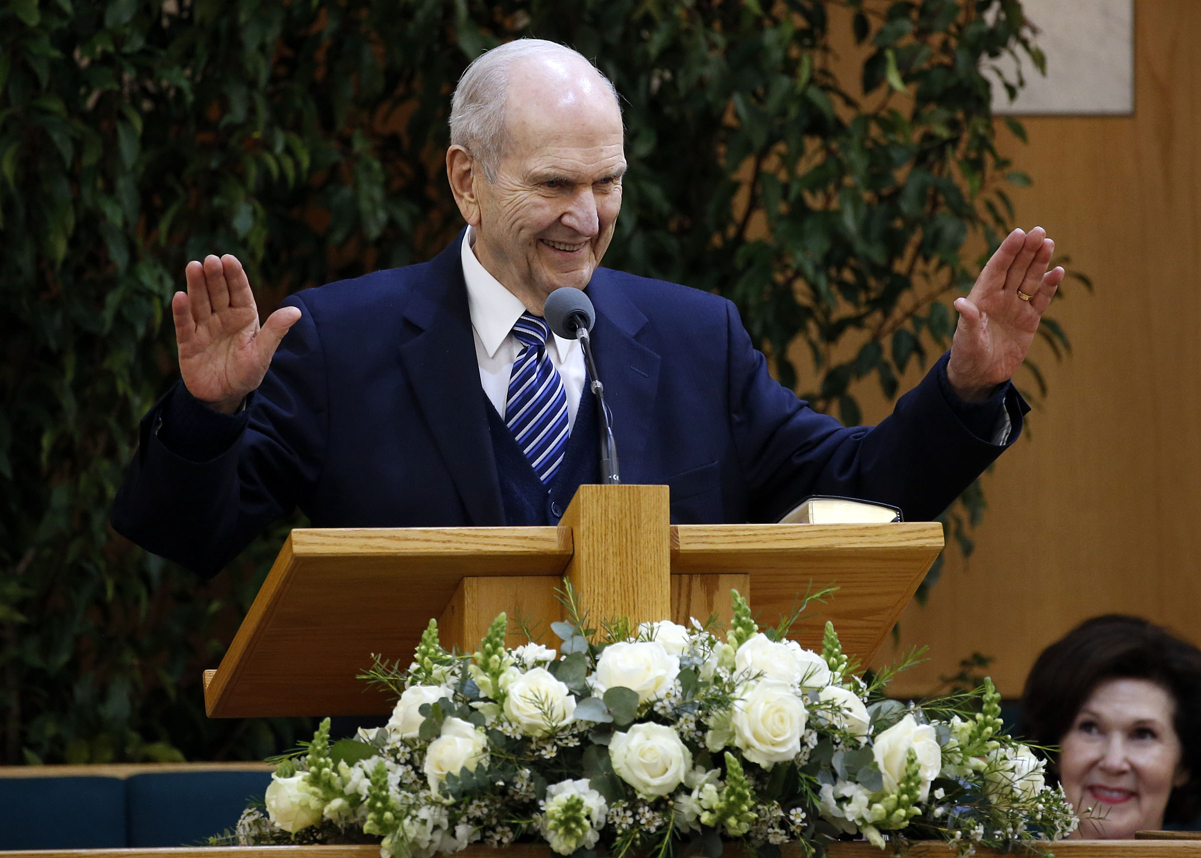 President Russell M. Nelson talks with missionaries at the Hyde Park Chapel in London on Thursday, April 12, 2018.
