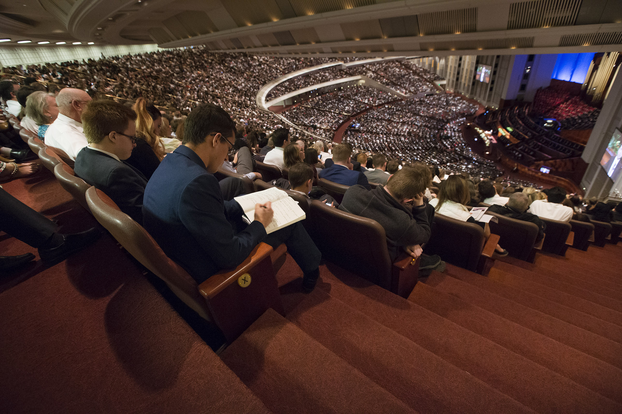 Conferencegoers listen to the talks during the 188th Annual General Conference of The Church of Jesus Christ of Latter-day Saints in the Conference Center in Salt Lake City on Sunday, April 1, 2018.