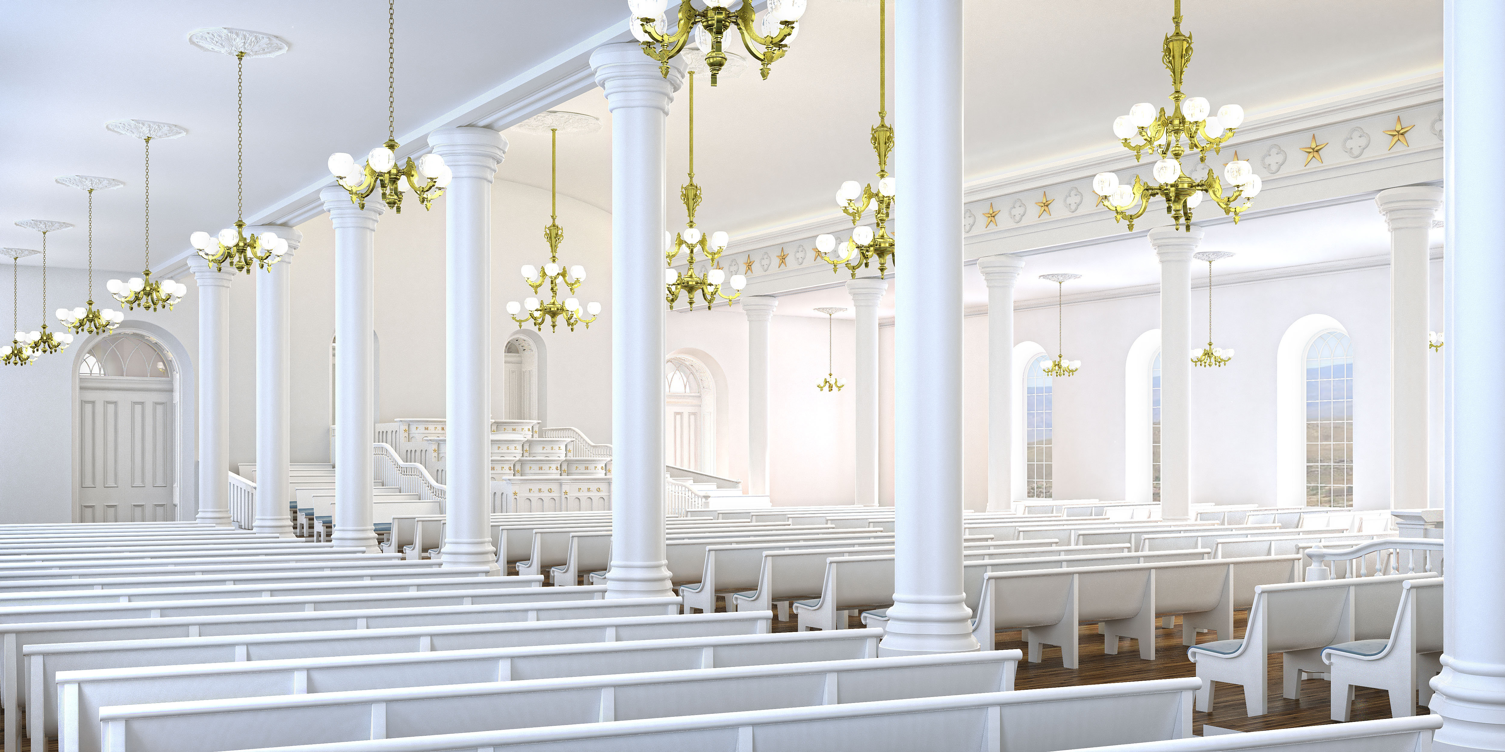 A rendering of the priesthood room in the St. George Utah Temple. The temple closed on Nov. 4, 2019, for extensive renovations.