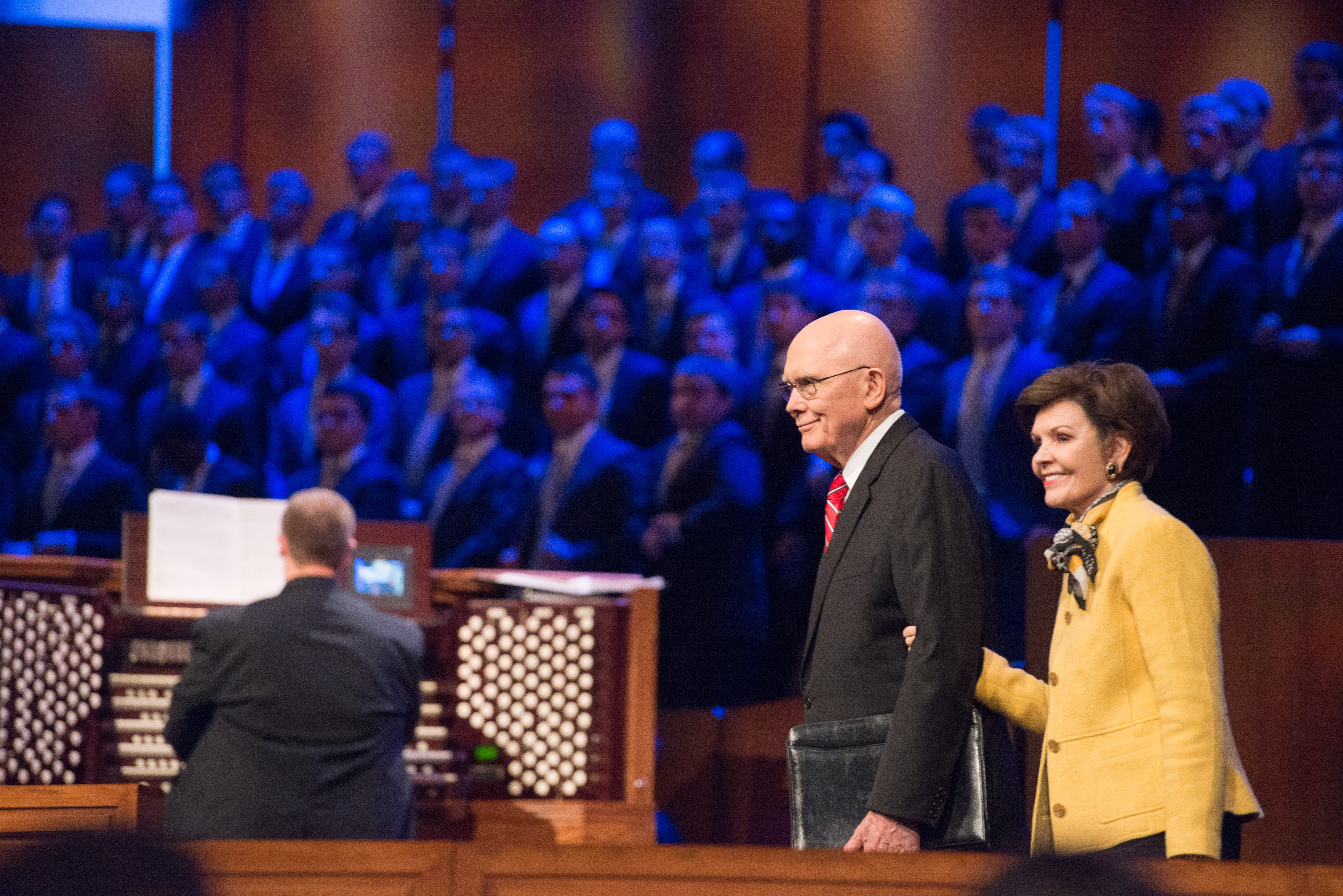 President Dallin H. Oaks of the First Presidency and his wife, Sister Kristen M. Oaks, greet students at a BYU-Idaho campus devotional on Oct. 30.