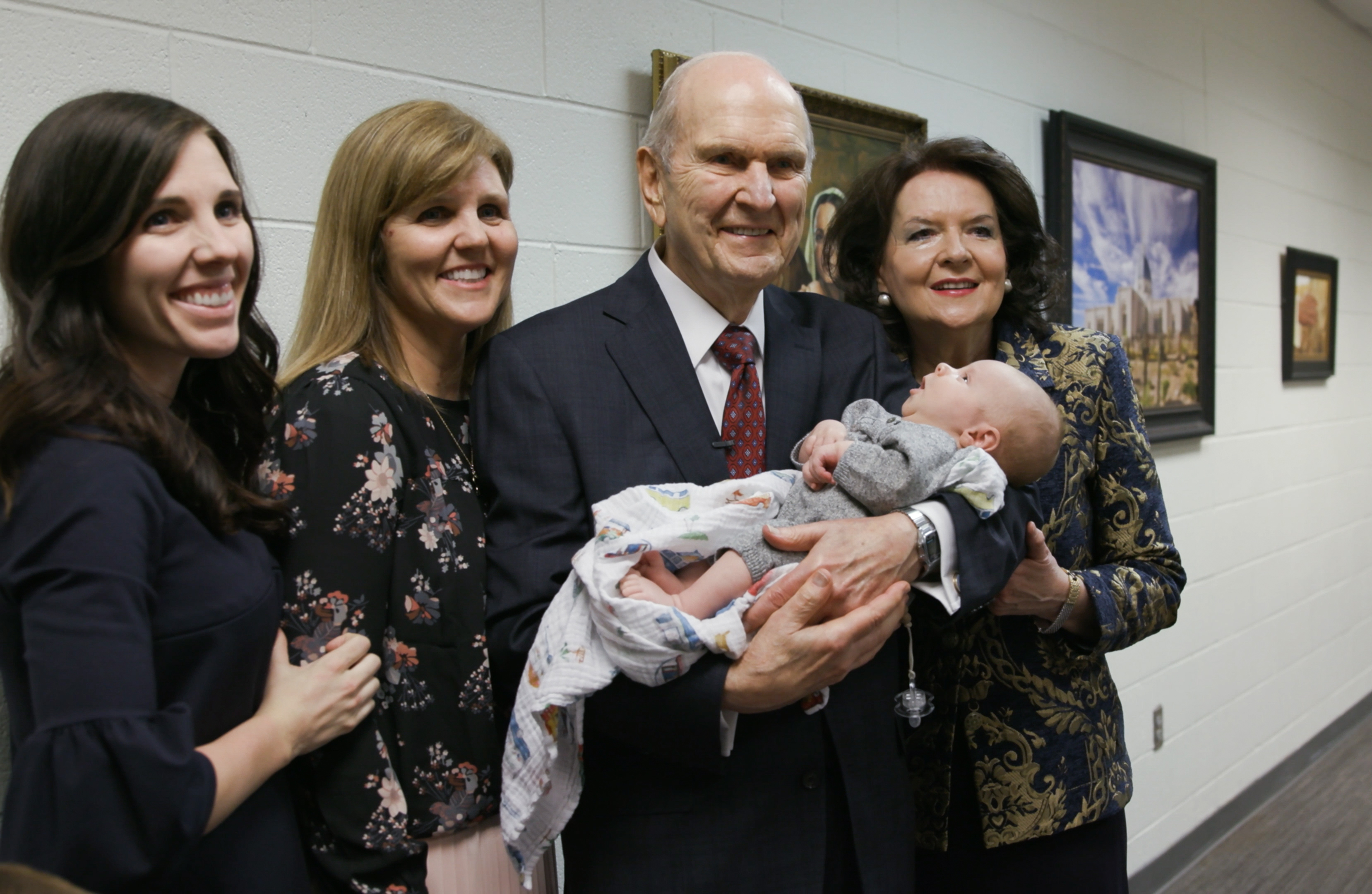 President Russell M. Nelson of The Church of Jesus Christ of Latter-day Saints and his wife, Sister Wendy Nelson, greet family members at the State Farm Stadium in Phoenix on Sunday, Feb. 10, 2019.