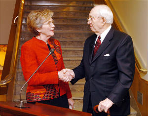 President Hinckley presents Bonnie Parkin with a Hawaiian quilt memory of his wife Marjorie Oct 19th, 2004 at the Relief Society Building in Salt Lake City. (Submission date: 10/19/2004)