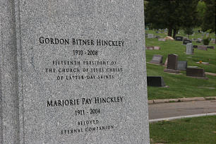 Cemetery grave marker of President Gordon B. Hinckley and his wife, Marjorie Pay Hinckley.