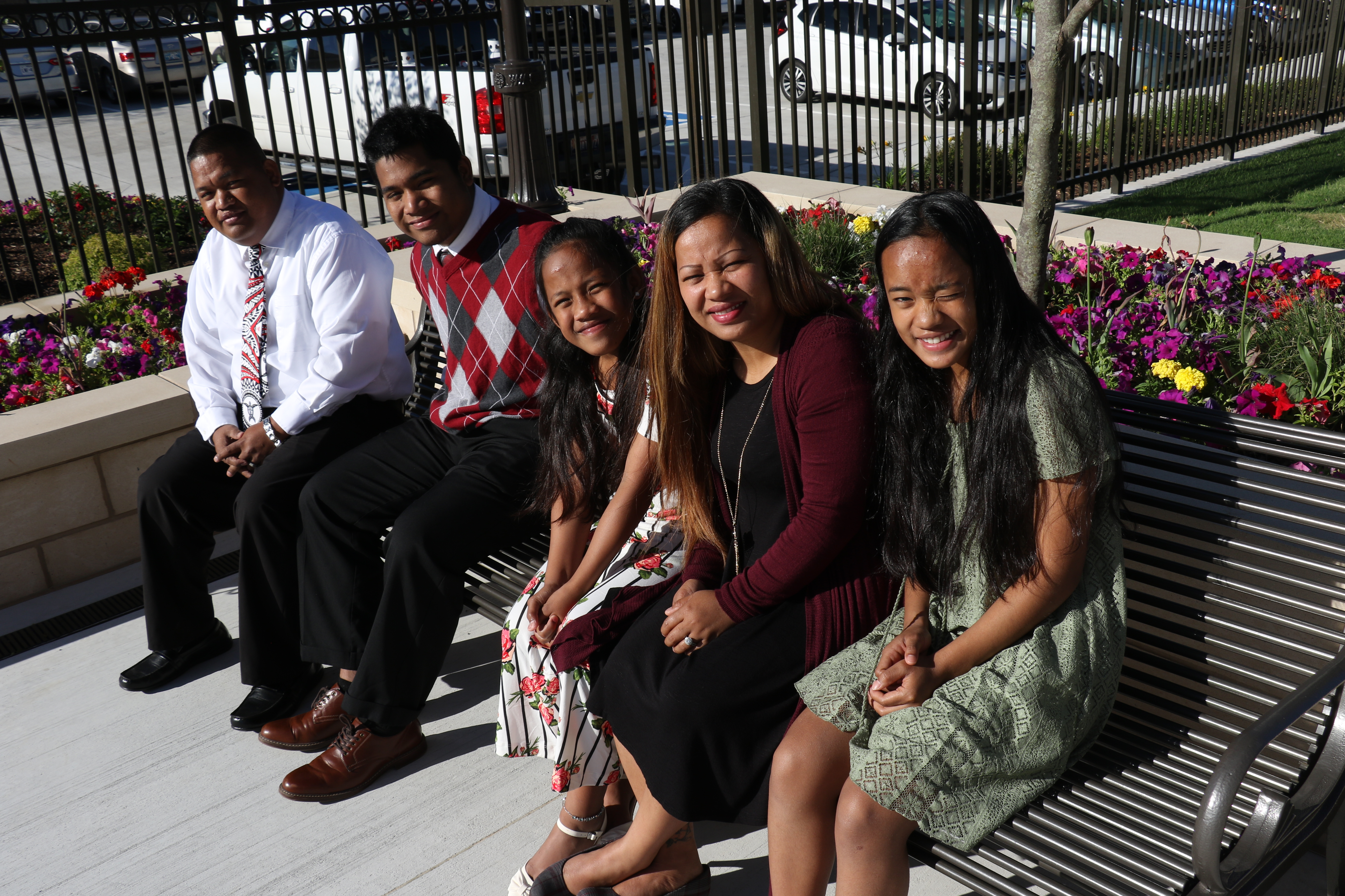 The Alonso Family from Springdale, Arkansas, enjoy the grounds outside the Oklahoma City Oklahoma Temple.
