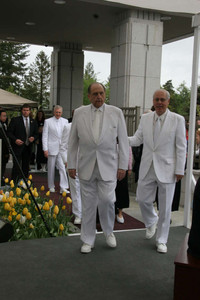 President Thomas S. Monson dedicated the Vancouver British Columbia Temple of The Church of Jesus Christ of Latter-day Saints Sunday, May 2. President Thomas S. Monson and Elder William R. Walker walk to temple cornerstone.