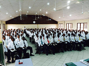A priesthood leadership meeting is held in Port Harcourt, Nigeria.
