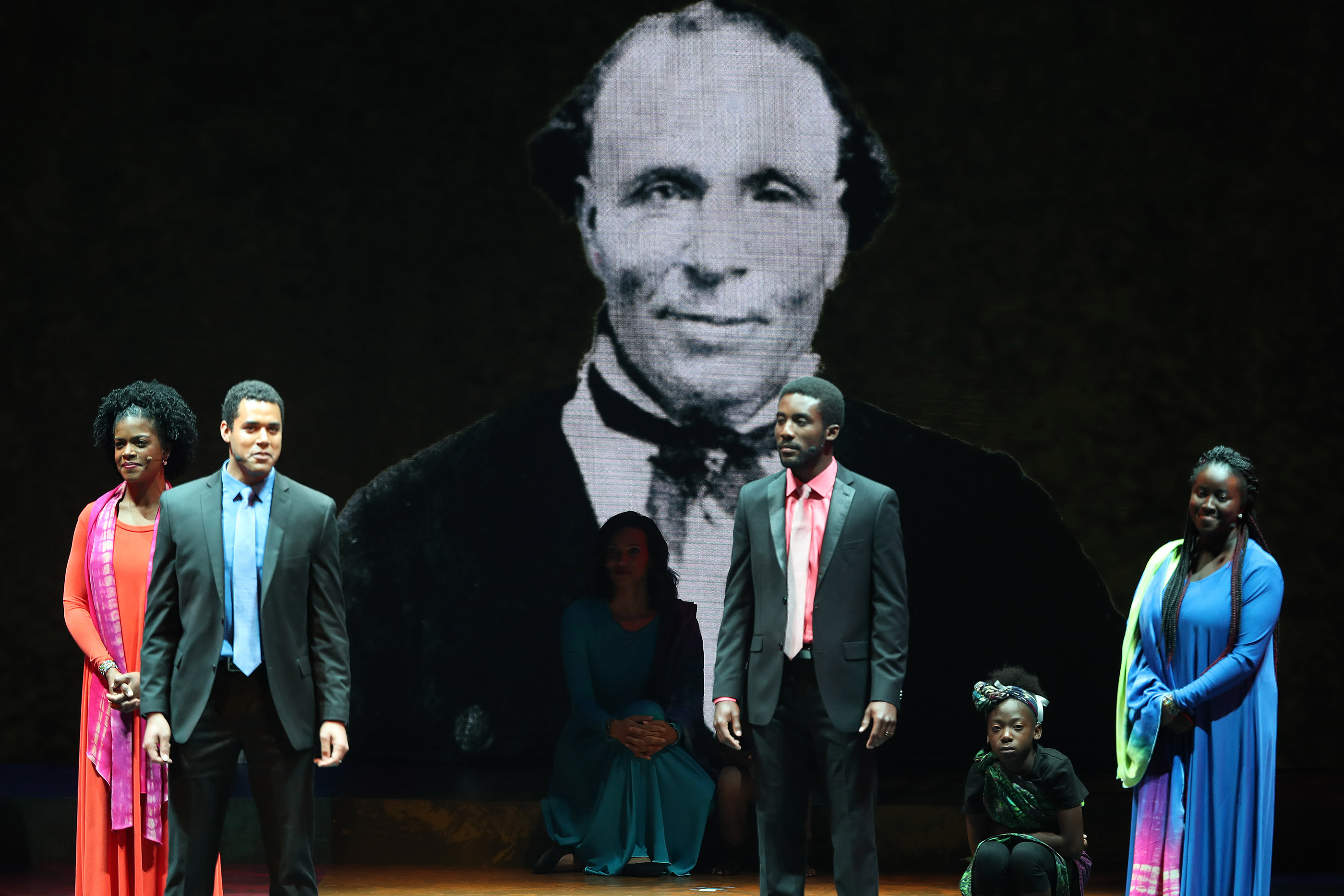 "Performers talk about early Black LDS members during ""Be One"" in Salt Lake City on Friday, June 1, 2018. The event celebrates the 40th anniversary of the 1978 revelation on the priesthood."