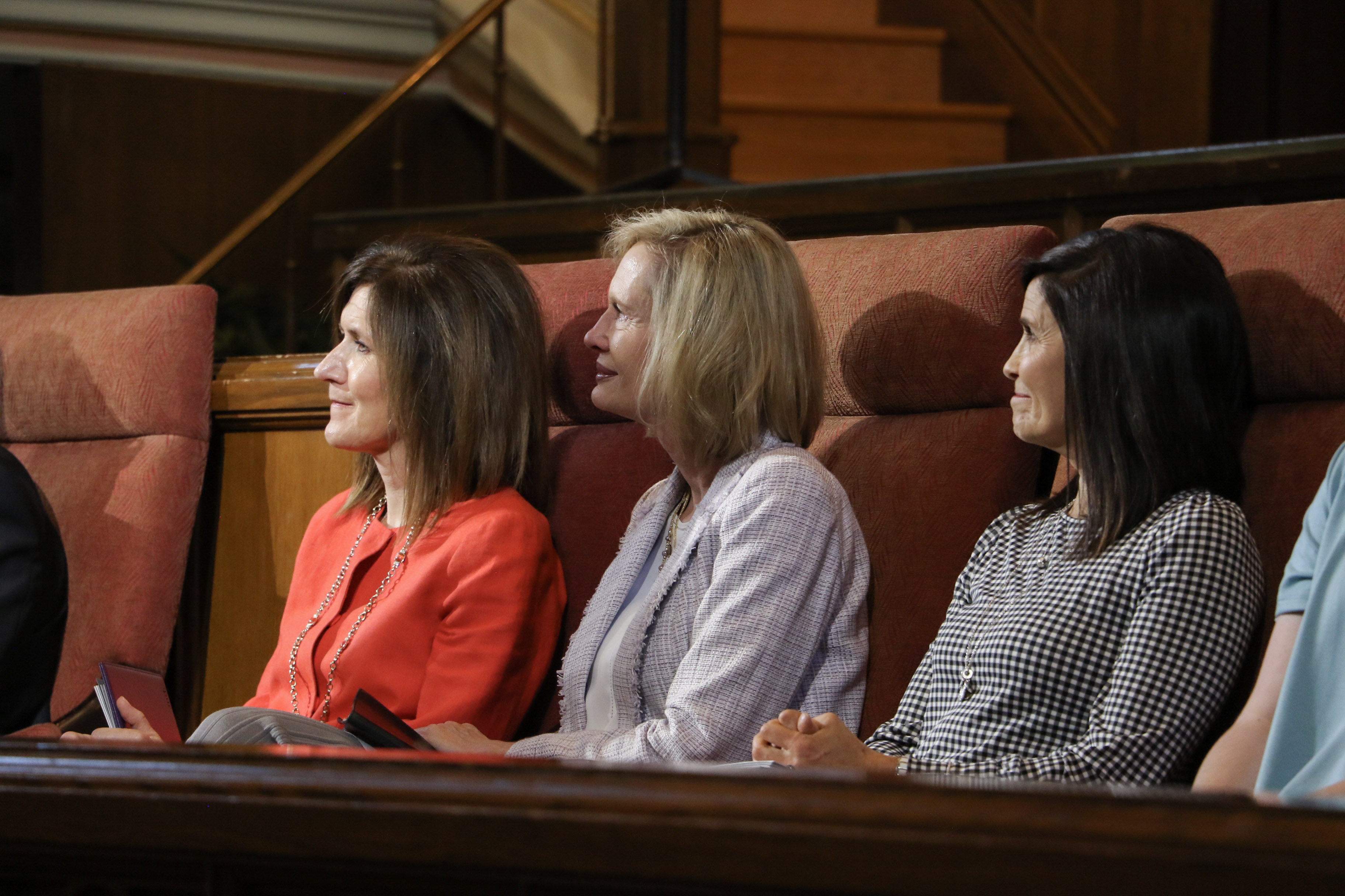Young Women general president Sister Bonnie H. Cordon, center, with her counselors, Sister Michelle D. Craig, left, and Sister Becky Craven, right, attend the Tuesday, June 18, 2019, LDSBC devotional in the Assembly Hall at Temple Square.
