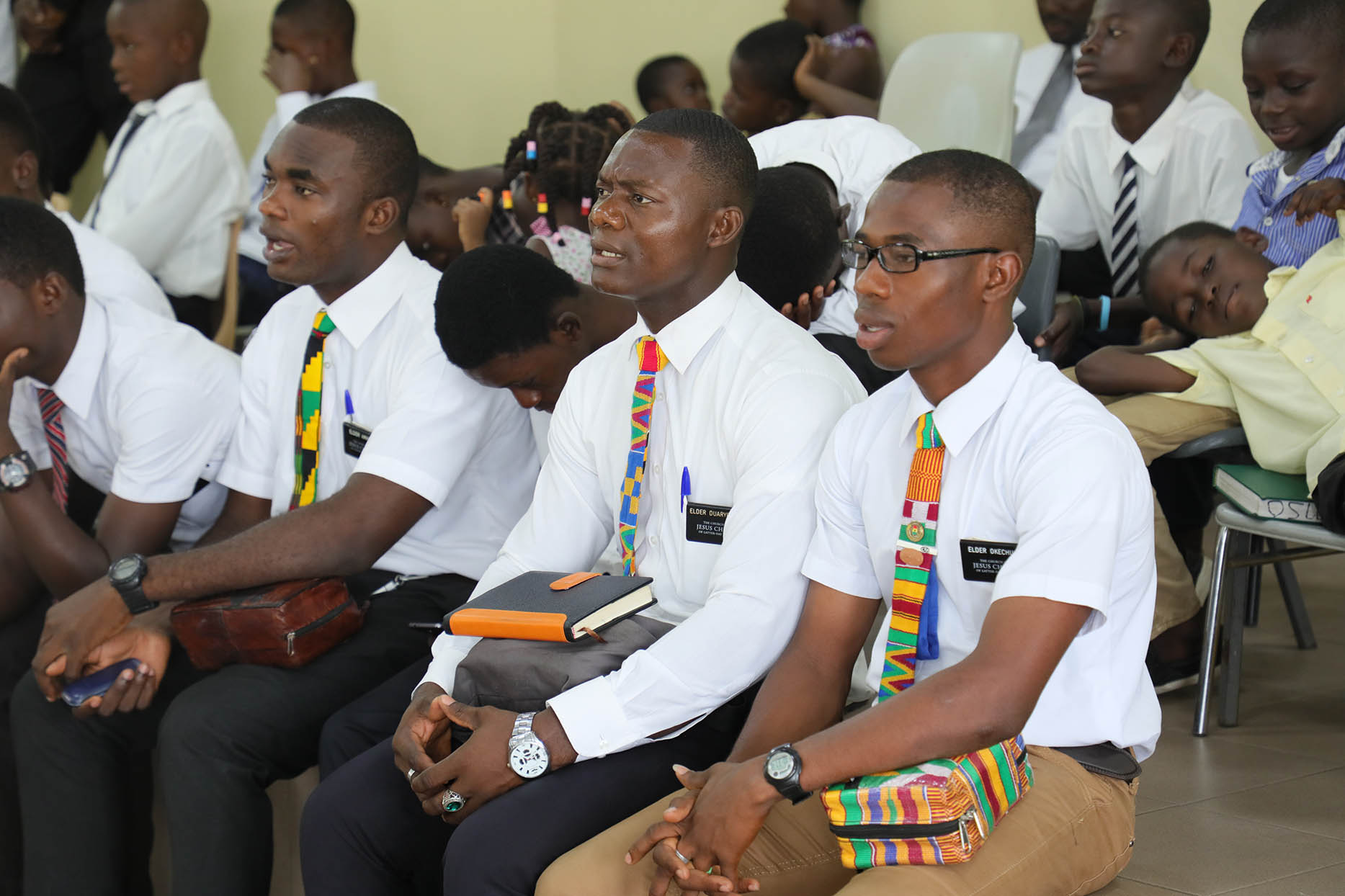 Missionaries serving in Kumasi, Ghana, listen during a stake conference. Elder Neil L. Andersen and Elder Ulisses Soares traveled throughout the Africa West Area from May 19-28, 2018.