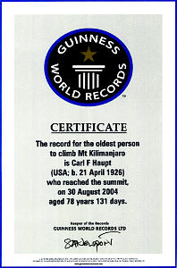 Hiking one of the world's most renowned peaks earned Brother Haupt a Guiness World Records certificate.