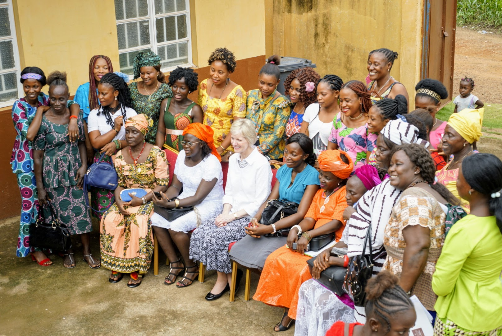 Sister Jean B. Bingham and members of the Relief Society pose for a photo in Sierra Leone. Sister Bingham, Relief Society general president, visited the West African country June 5 through June 16, 2019.