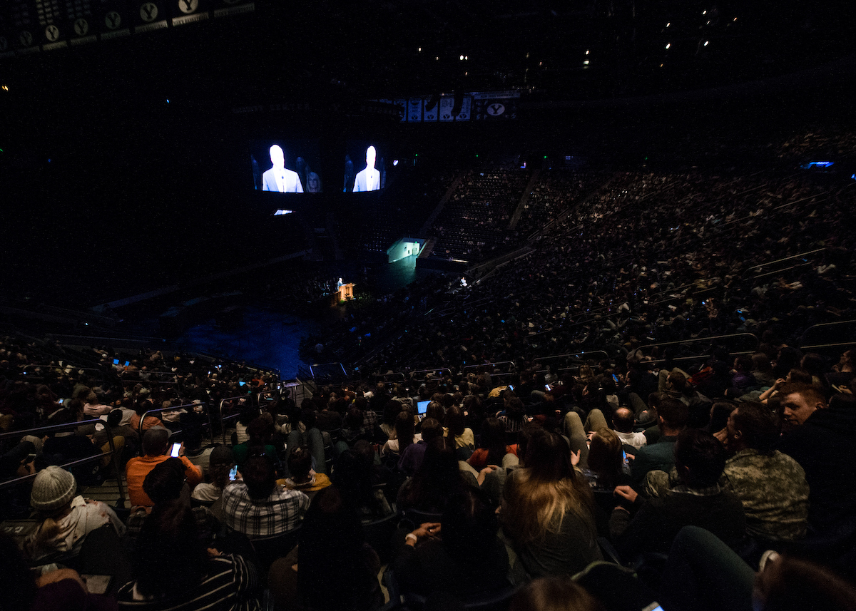 Brother Stephen W. Owen, Young Men general president, speaks during a campus devotional at BYU on Oct. 23.