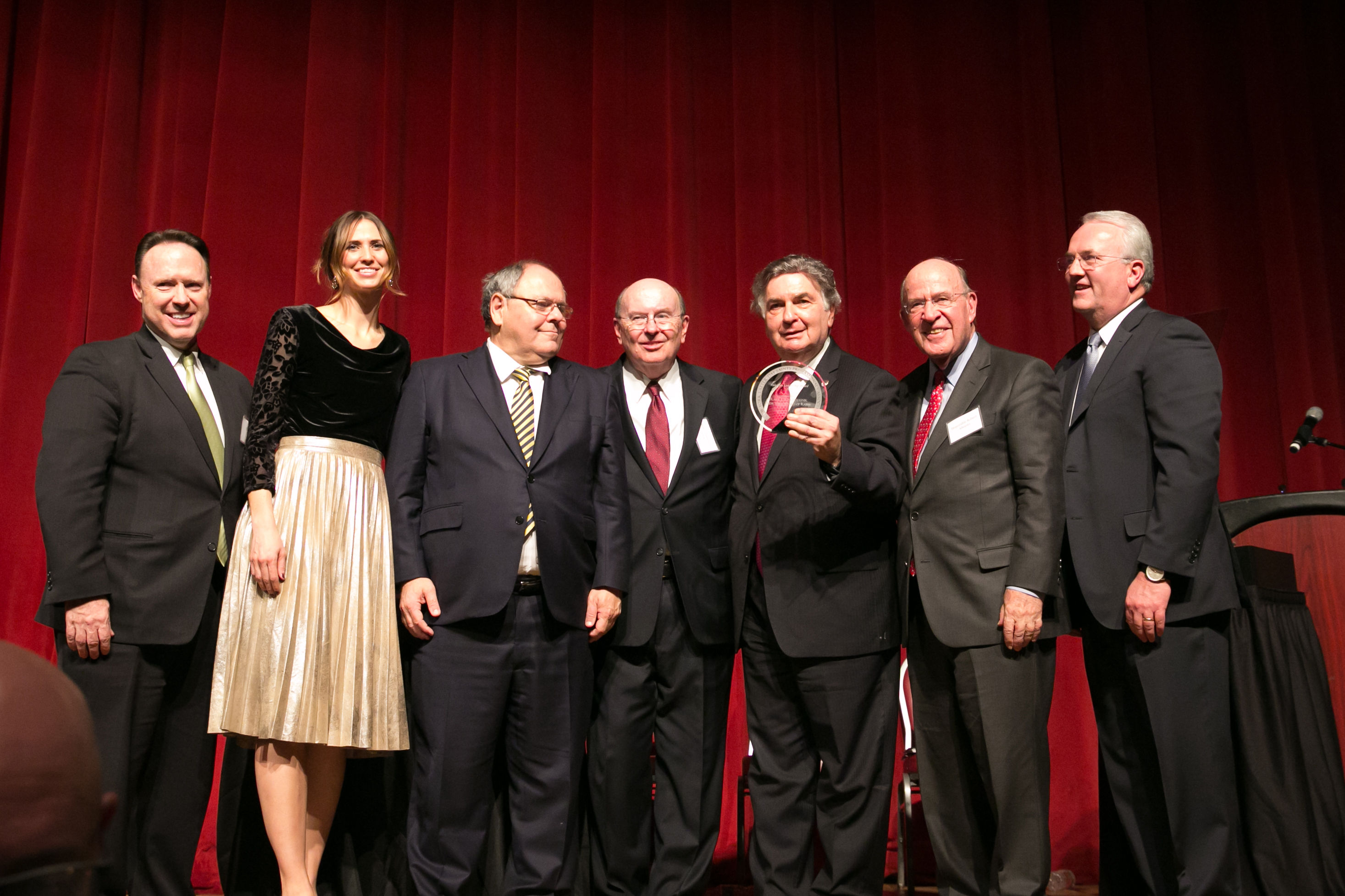 Rabbi Joseph Potasnik receives the Visionary Leadership Award from the New York Latter-day Saint Professional Association on Dec. 18, 2018. From left: Elder David Buckner, Area Seventy; Andrea Combs, local Latter-day Saint representative; Ambassador Dani Dayan; Elder Quentin L. Cook; Rabbi Joseph Potasnik; former New York attorney general Robert Abrams and Elder Jack N. Gerard, General Authority Seventy.