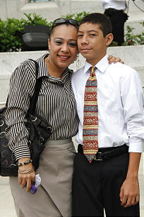 Dixey Castro stands with her 12-year-old son, Diego, outside the San Salvador El Salvador Temple. Dixey Castro stands with her 12-year-old son, Diego, outside the San Salvador El Salvador Temple.