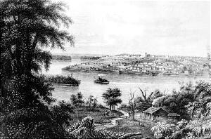 As depicted in artist's sketch, Nauvoo was prospering in mid-1840s.