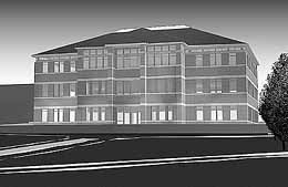 Rendering of new Jacob Spori Building at Ricks College will reflect architecture of original edifice.