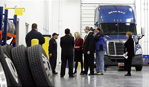 Members of the media tour the new 570,000 square foot Utah Bishops' Central Storehouse in Salt Lake City, Thursday, Jan. 26, 2012. This is the vehicle maintenance facility.