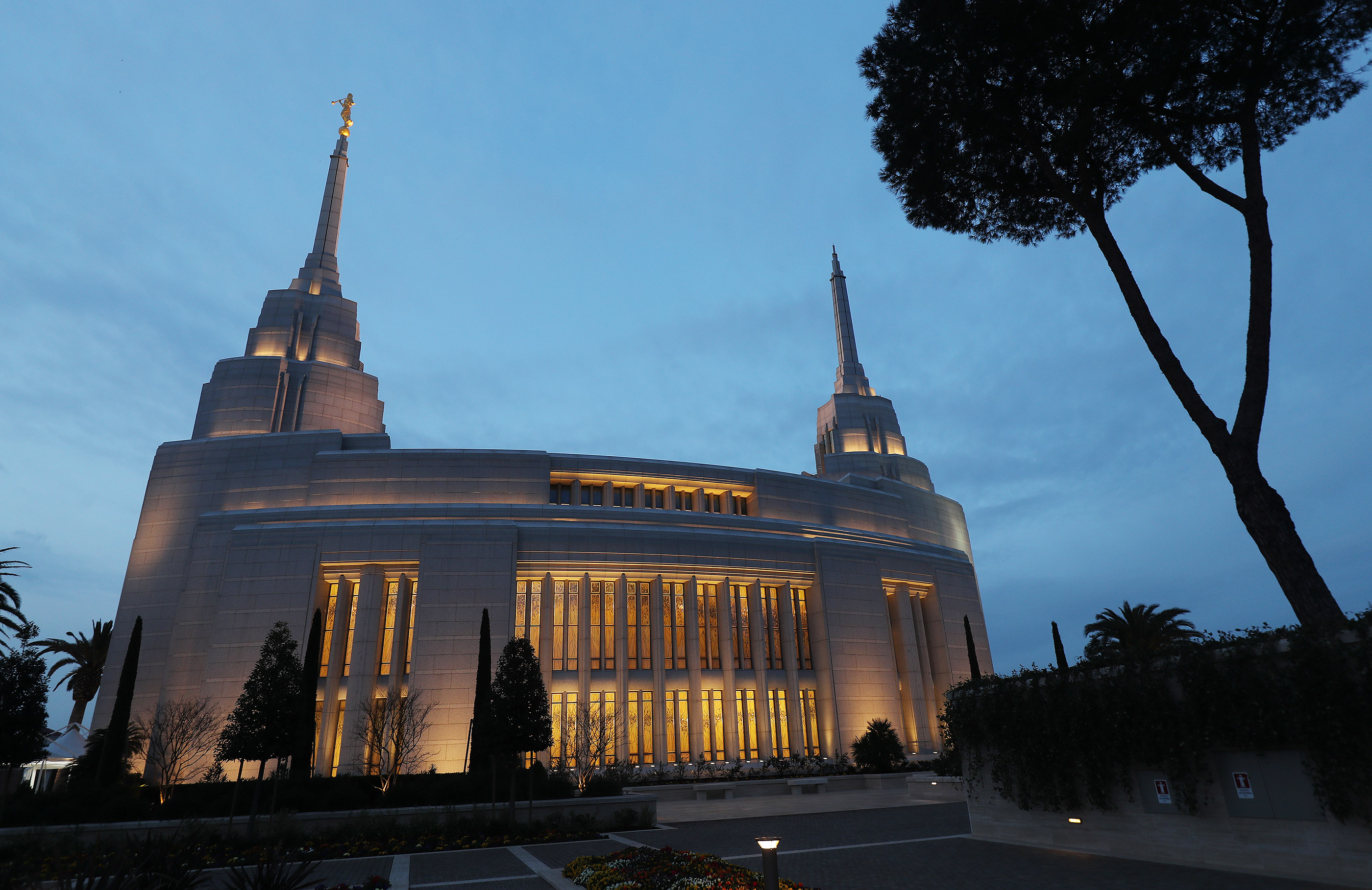 The Rome Italy Temple of The Church of Jesus Christ of Latter-day Saints at sunrise in Rome, Italy, on Friday, March 8, 2019.