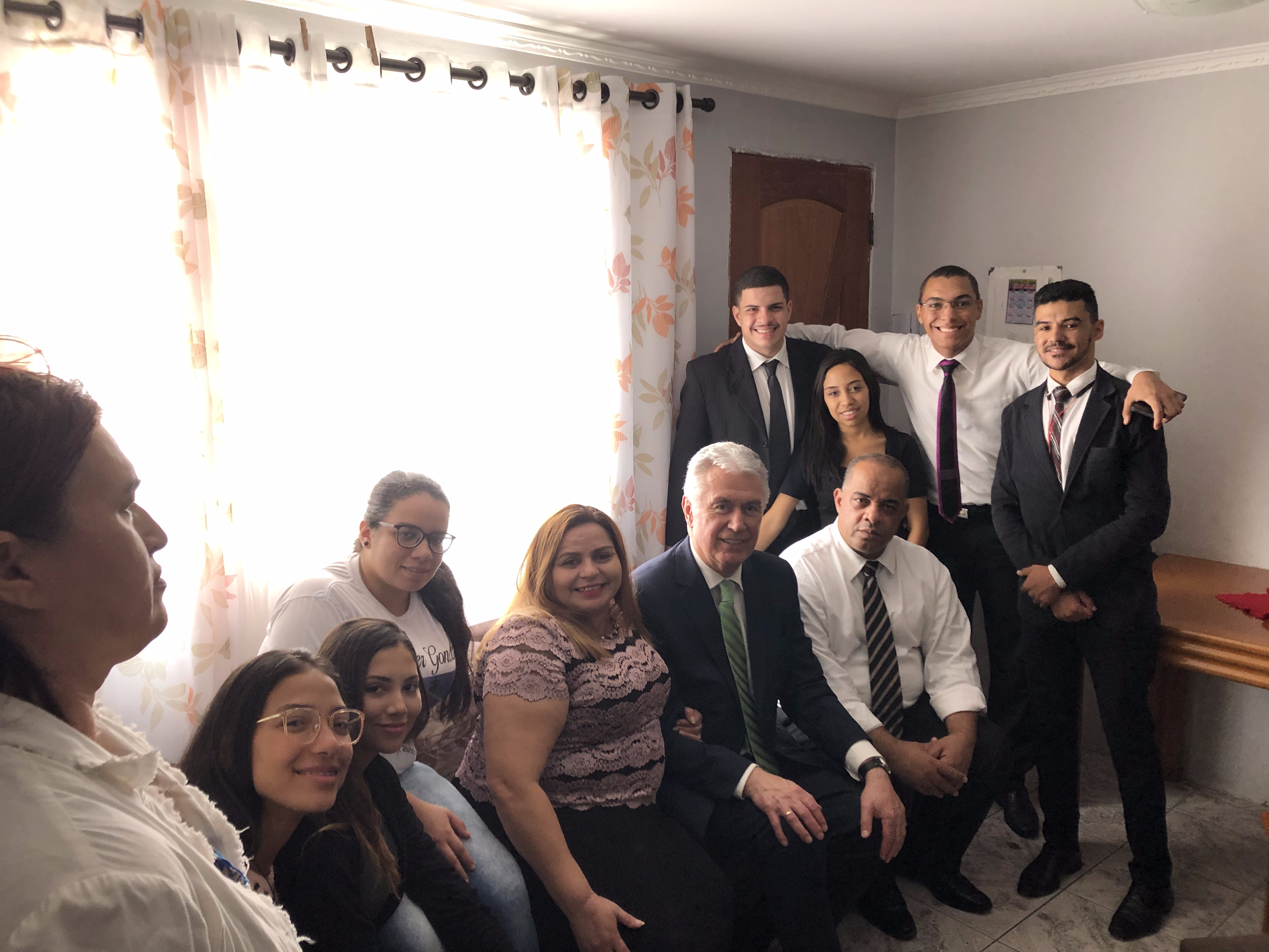 Family and friends of Elder Joao Gondim gather with Elder Dieter F. Uchtdorf of the Quorum of the Twelve Apostles in the Gondim home on Feb. 17, 2019. Elder Gondim passed away Jan. 28 while serving in the Portugal Lisbon Mission.