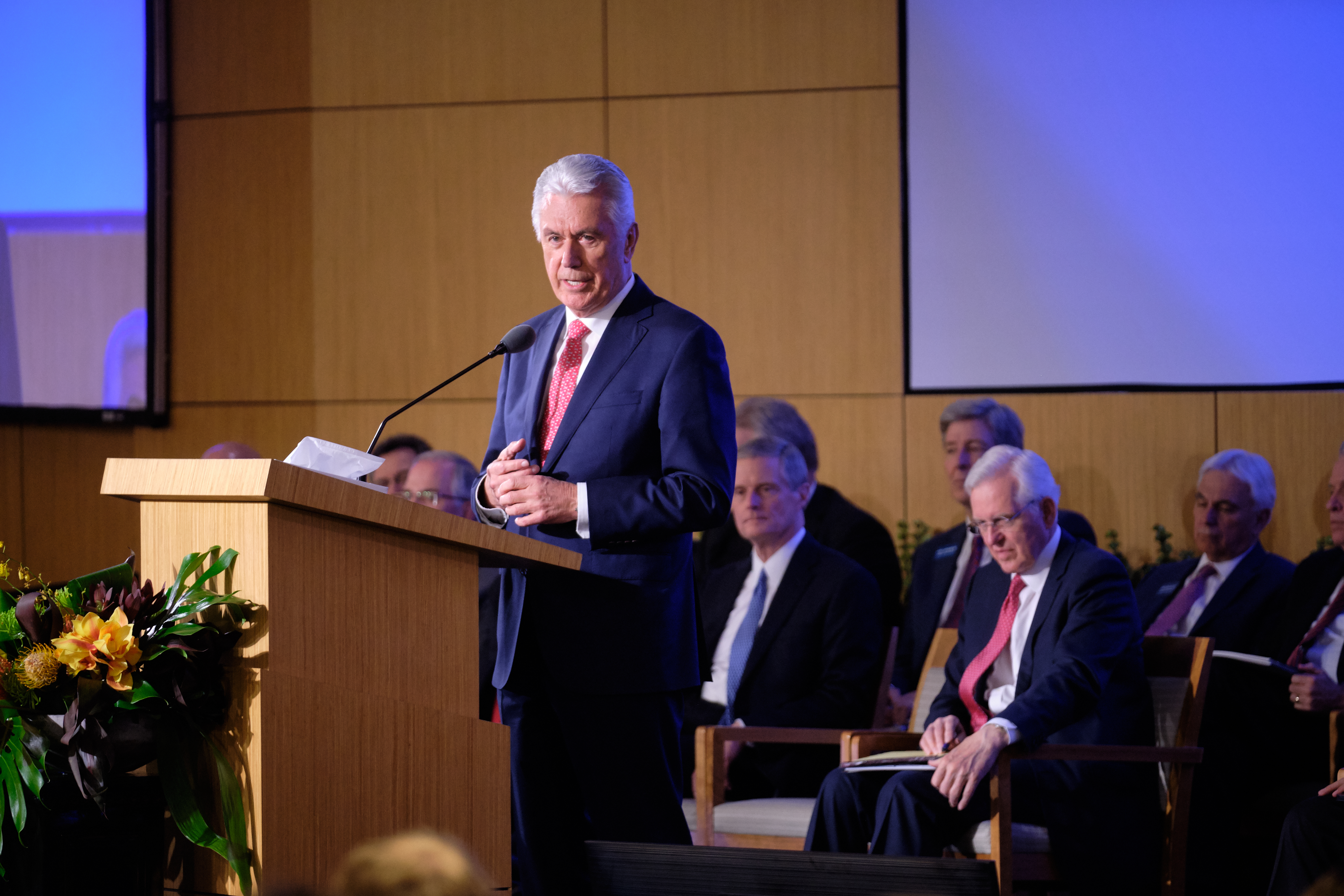 Elder Dieter F. Uchtdorf, of the Quorum of the Twelve Apostles and chairman of the Missionary Executive Council, offers concluding remarks Tuesday, June 25, 2019, at the New Mission Leadership Seminar held at the Provo Missionary Training Center in Provo, Utah.