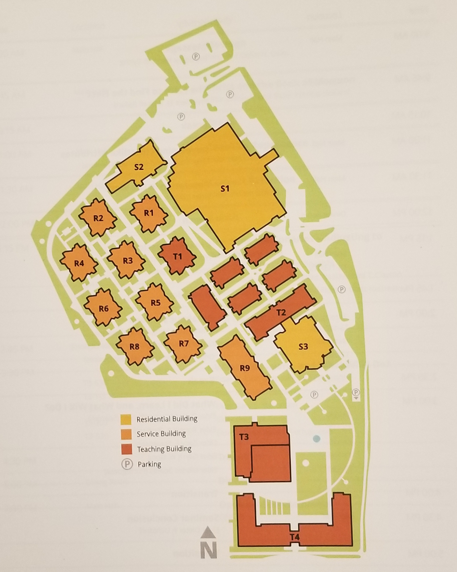 A map of the Provo Missionary Training Center campus. The five oldest training buildings to be demolished in the summer of 2017 are the five unmarked ones located between S1 and T2/S3.
