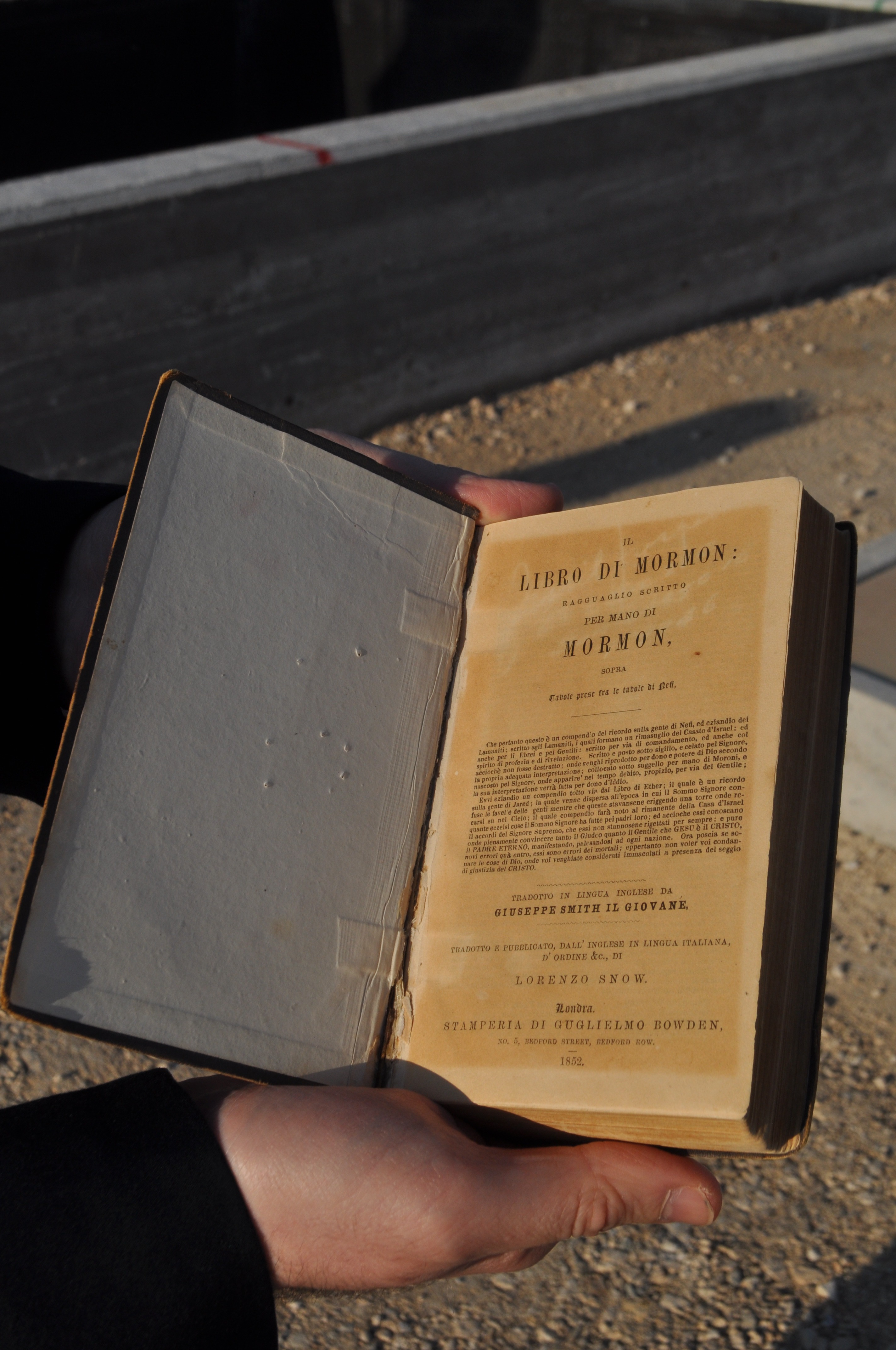The 1852 edition of the Italian translation of the Book of Mormon. The Book is scheduled to be placed in the new Rome Italy Temple Visitors' Center next month.