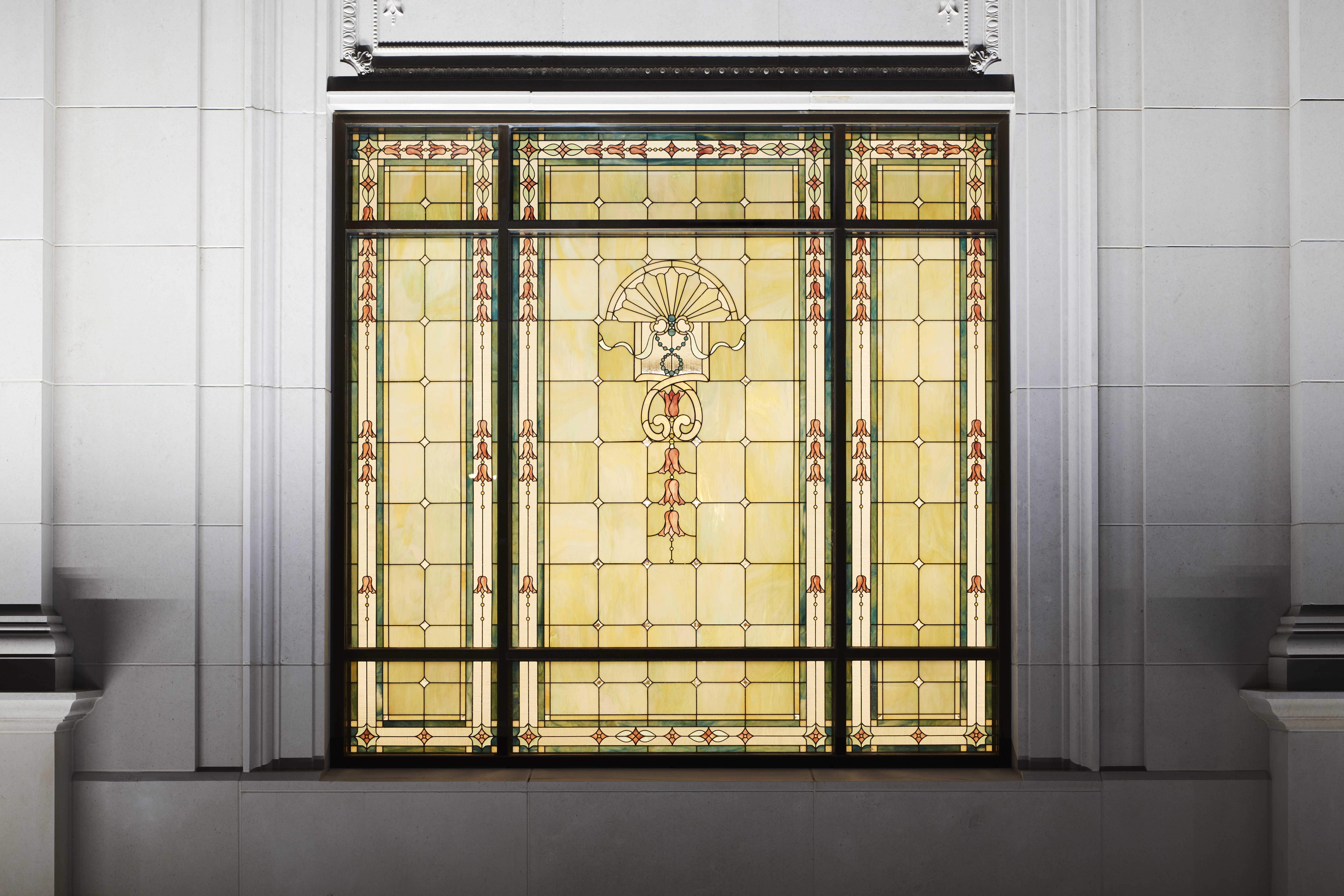 Stained-glass window inside the Memphis Tennessee Temple.