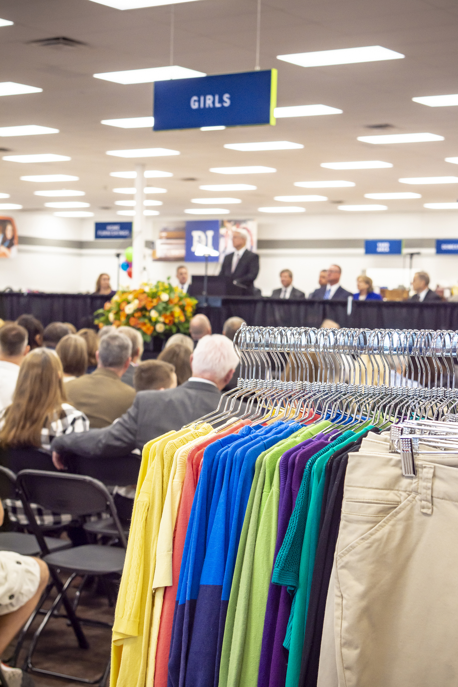 Bishop Dean M. Davies of the Presiding Bishopric of The Church of Jesus Christ of Latter-day Saints speaks at the dedication of the new Deseret Industries in Gilbert, Arizona, Oct. 20, 2018.