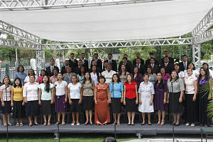 Choir performs for President Dieter F. Uchtdorf during the cornerstone ceremony of the Manaus Brazil Temple Sunday, June 10, 2012.