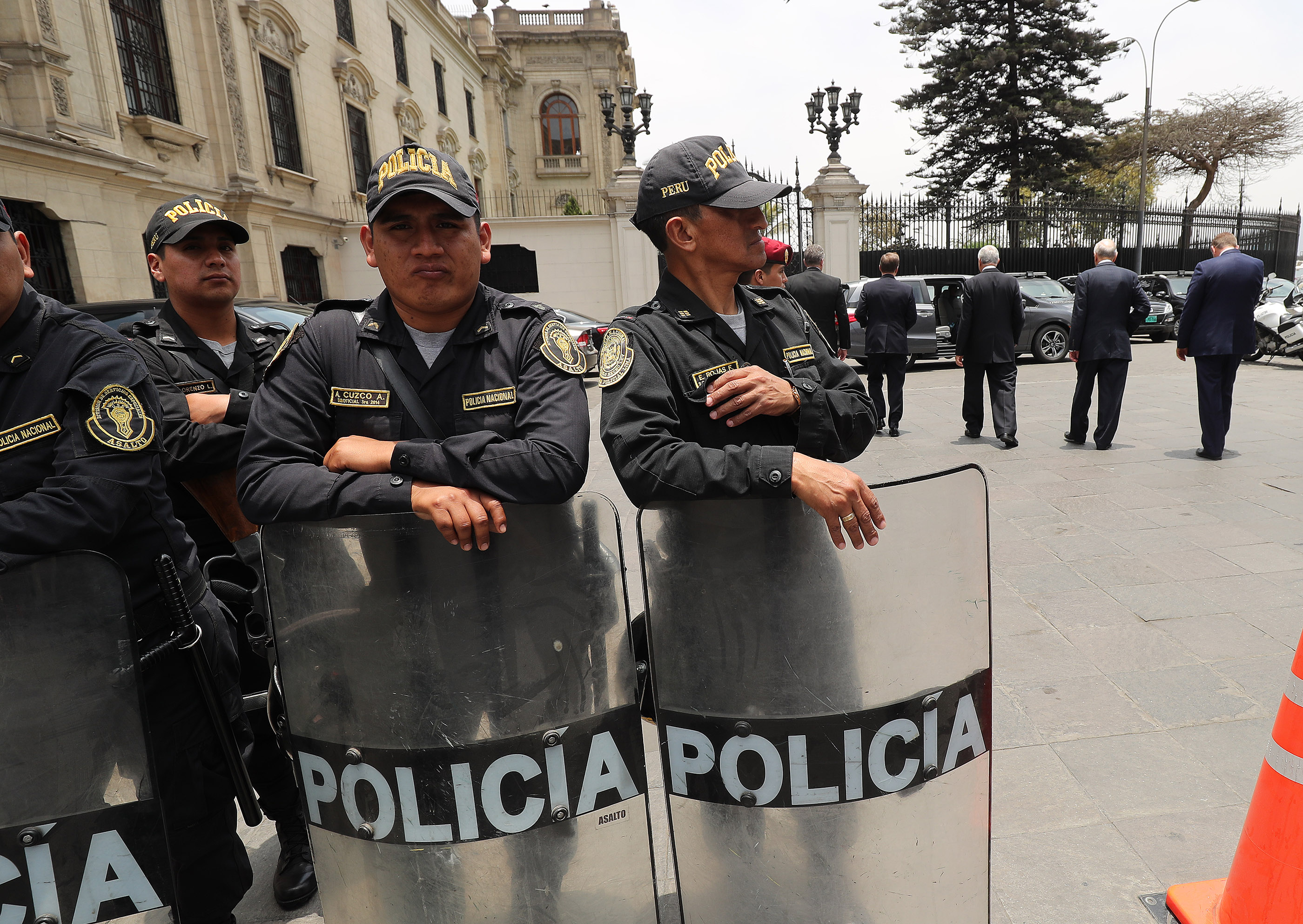 Police are present as President Russell M. Nelson of The Church of Jesus Christ of Latter-day Saints, center, Elder Gary E. Stevenson, of the Quorum of the Twelve Apostles, and Elder Enrique Falabella, General Authority Seventy, leave the Government Palace after speaking with the president of Peru in Lima, Peru, on Oct. 20, 2018.