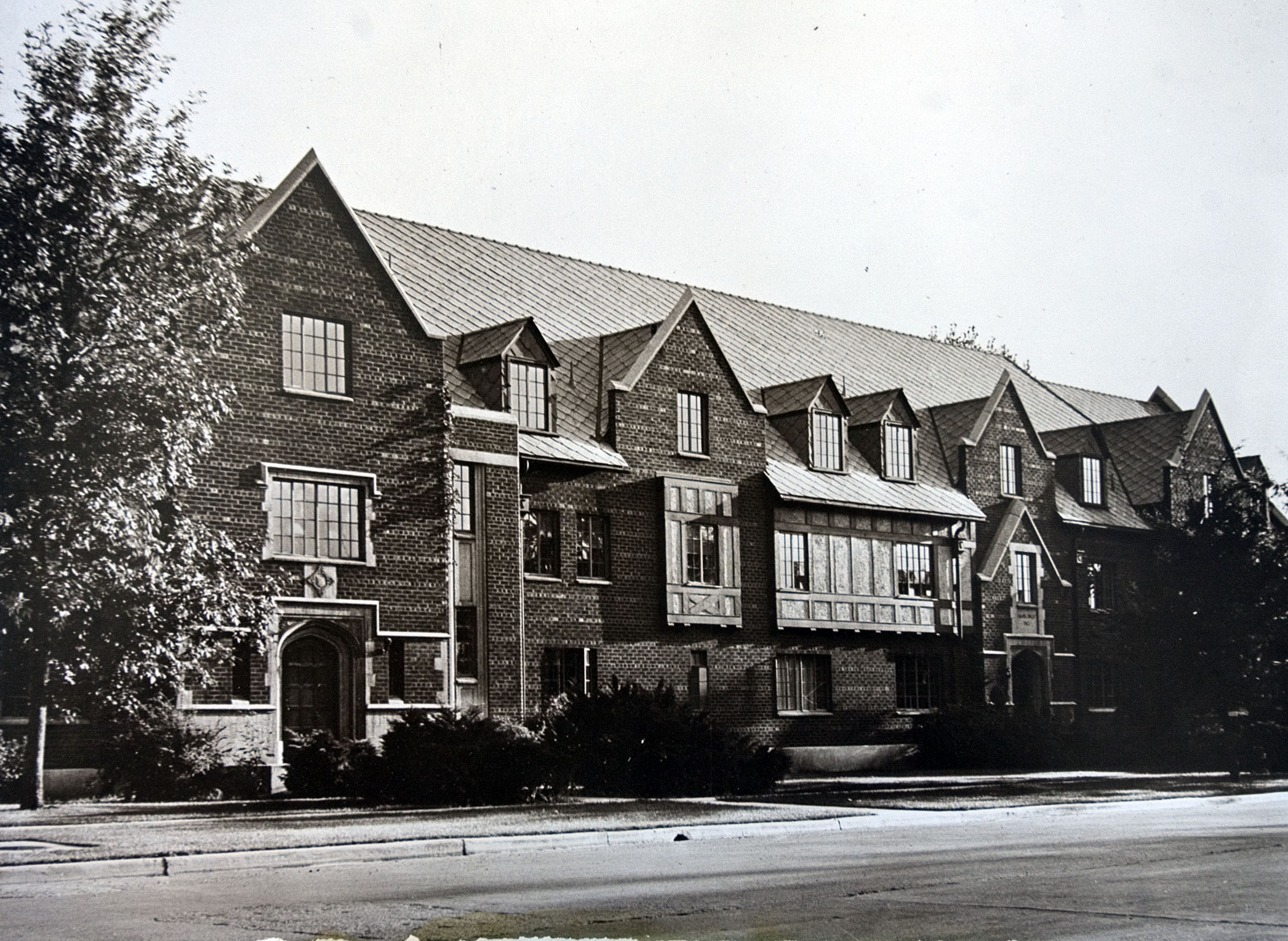 """The Amanda Knight Hall, a Brigham Young University dormitory, was assigned to the Language Training Mission in July of 1964. It served as a residence hall and classroom primarily for German9speaking missionaries until August 1976."" — This is the caption information found on the frame plaque accompany this photo, one nearly dozen historical photos showing the development of the Language Training Mission and Missionary Training Center facilities in Provo since the 1960s."