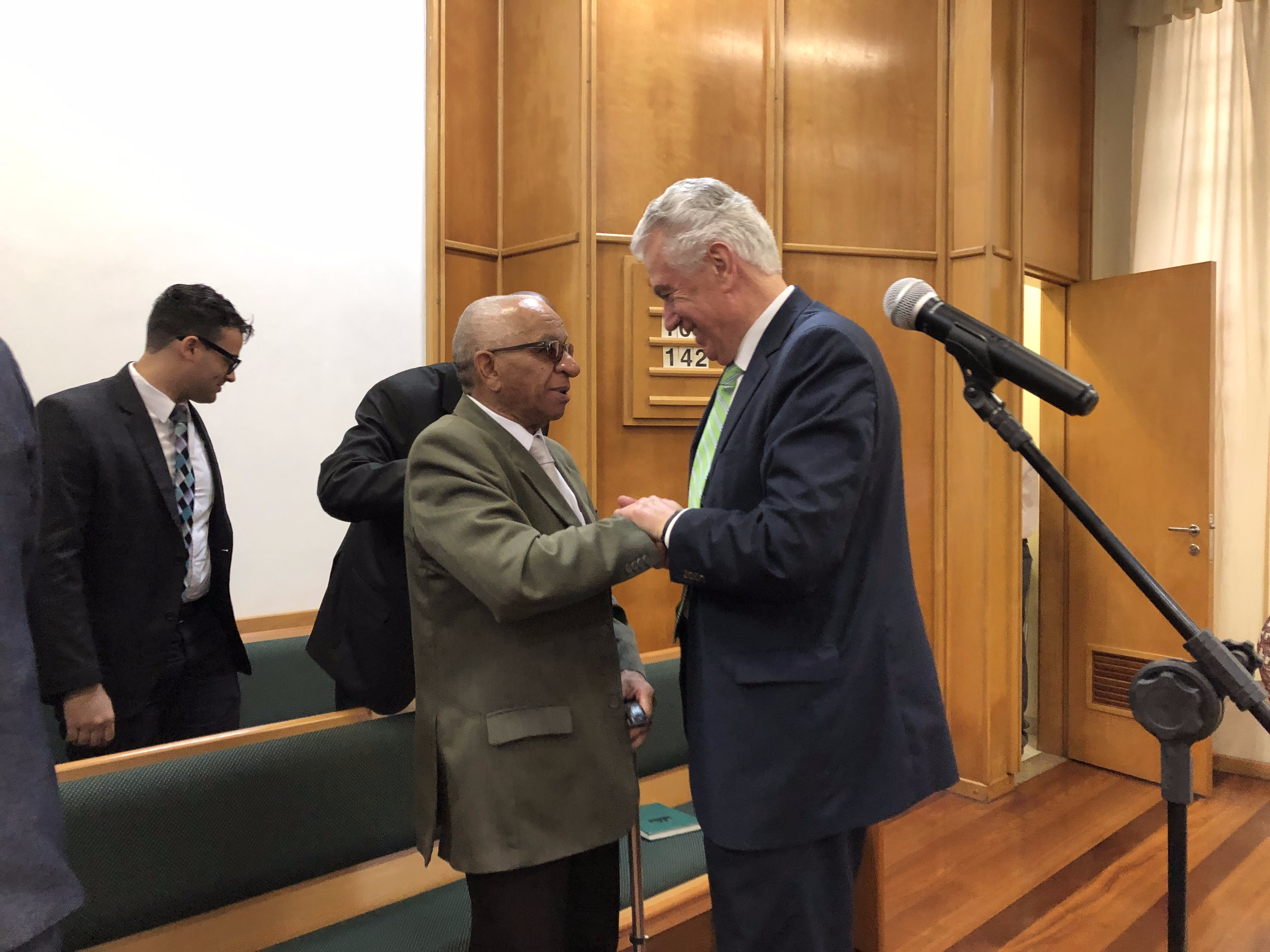 Elder Dieter F. Uchtdorf of the Quorum of the Twelve Apostles visits with Vitorino Luiz da Silva, second counselor in the Taipas Ward bishopric, who is blind. Elder Uchtdorf met with the Taipas Ward, of the Sao Paulo Brazil Jaragua Stake, for their Sunday meetings in February 2019.