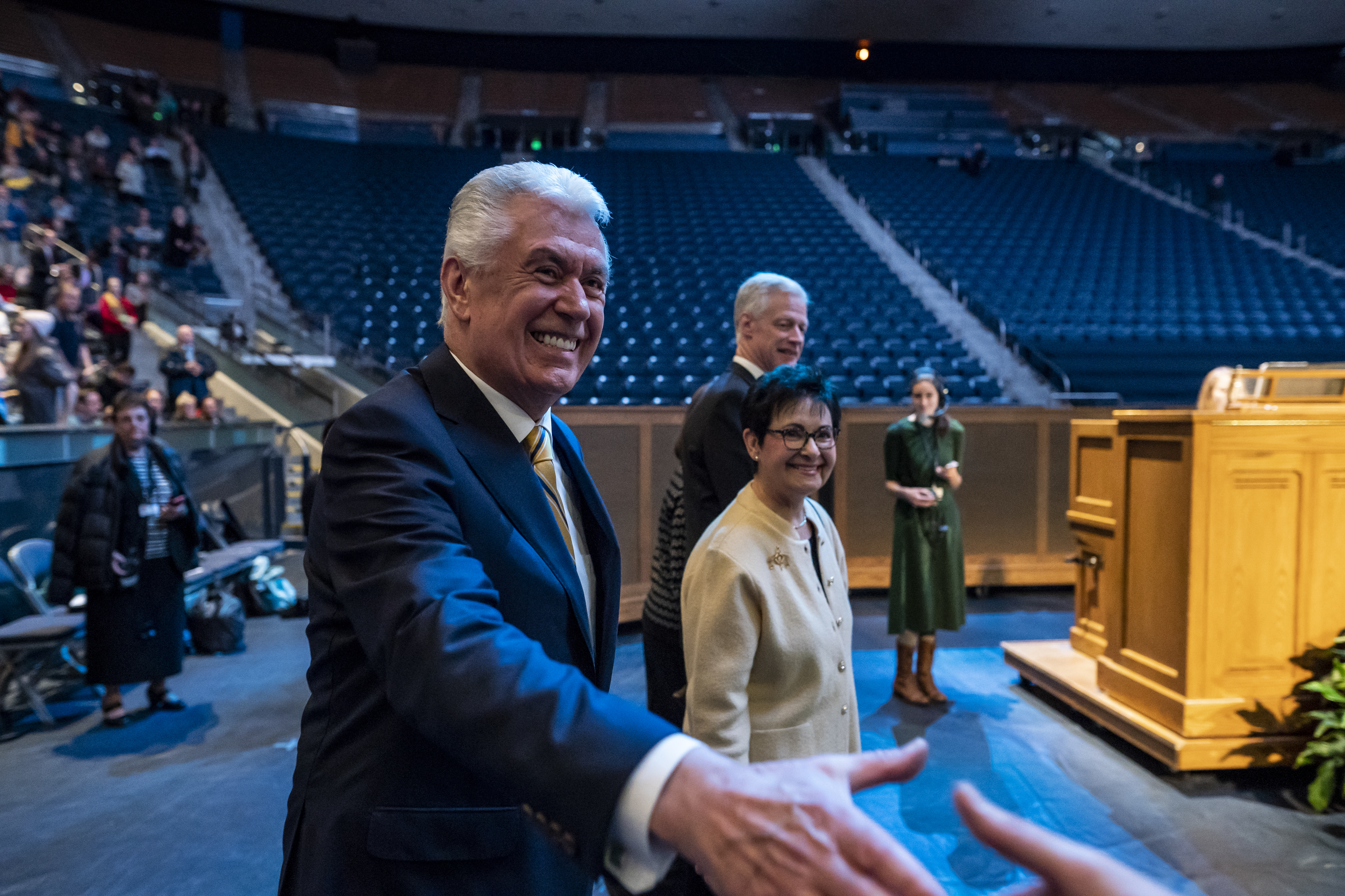 Elder Dieter F. Uchtdorf of the Quorum of the Twelve Apostles with his wife Harriet R. Uchtdorf prior to a devotional on the BYU campus in Provo, Utah on Tuesday, Jan. 15, 2019.