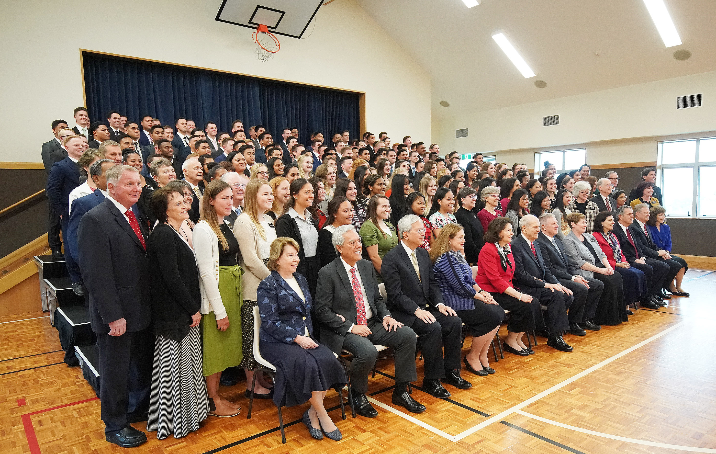President Russell M. Nelson of The Church of Jesus Christ of Latter-day Saints has a photo taken with missionaries in Auckland, New Zealand, on Tuesday, May 21, 2019.