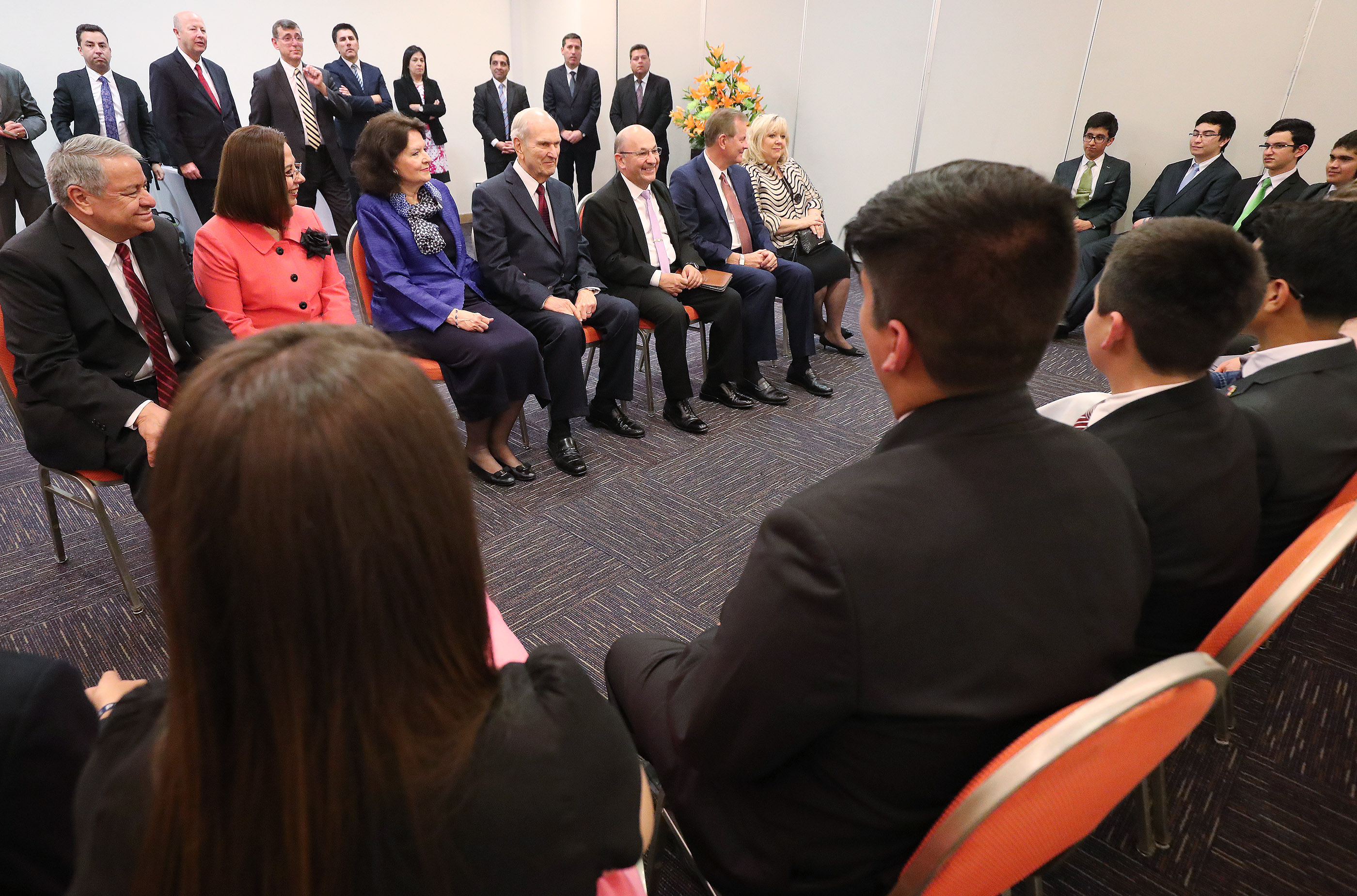 President Russell M. Nelson of The Church of Jesus Christ of Latter-day Saints and his wife, Sister Wendy Nelson, meet with youth in Concepcion, Chile, on Saturday, Oct. 27, 2018.